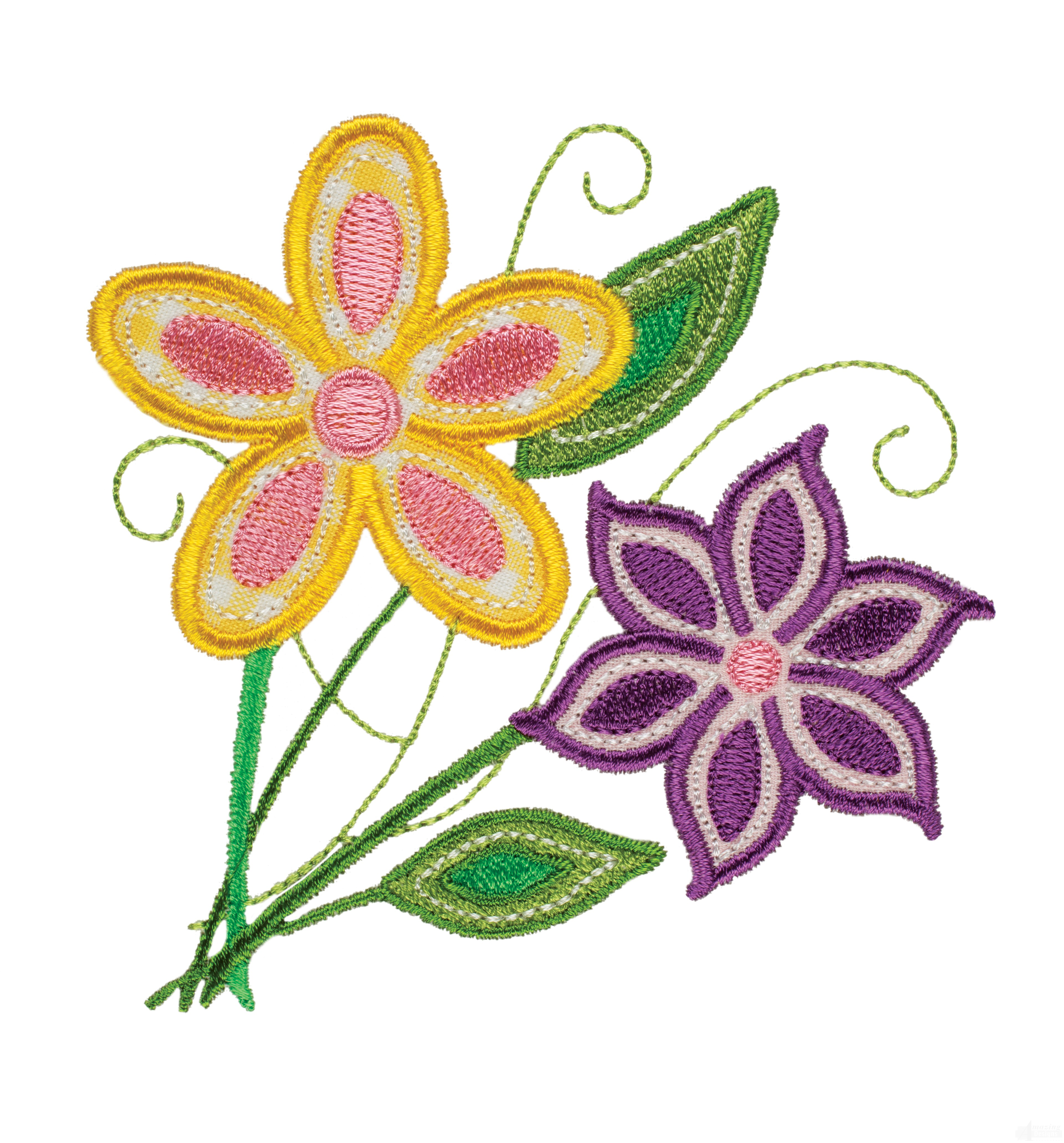 Flower group happy day applique embroidery design