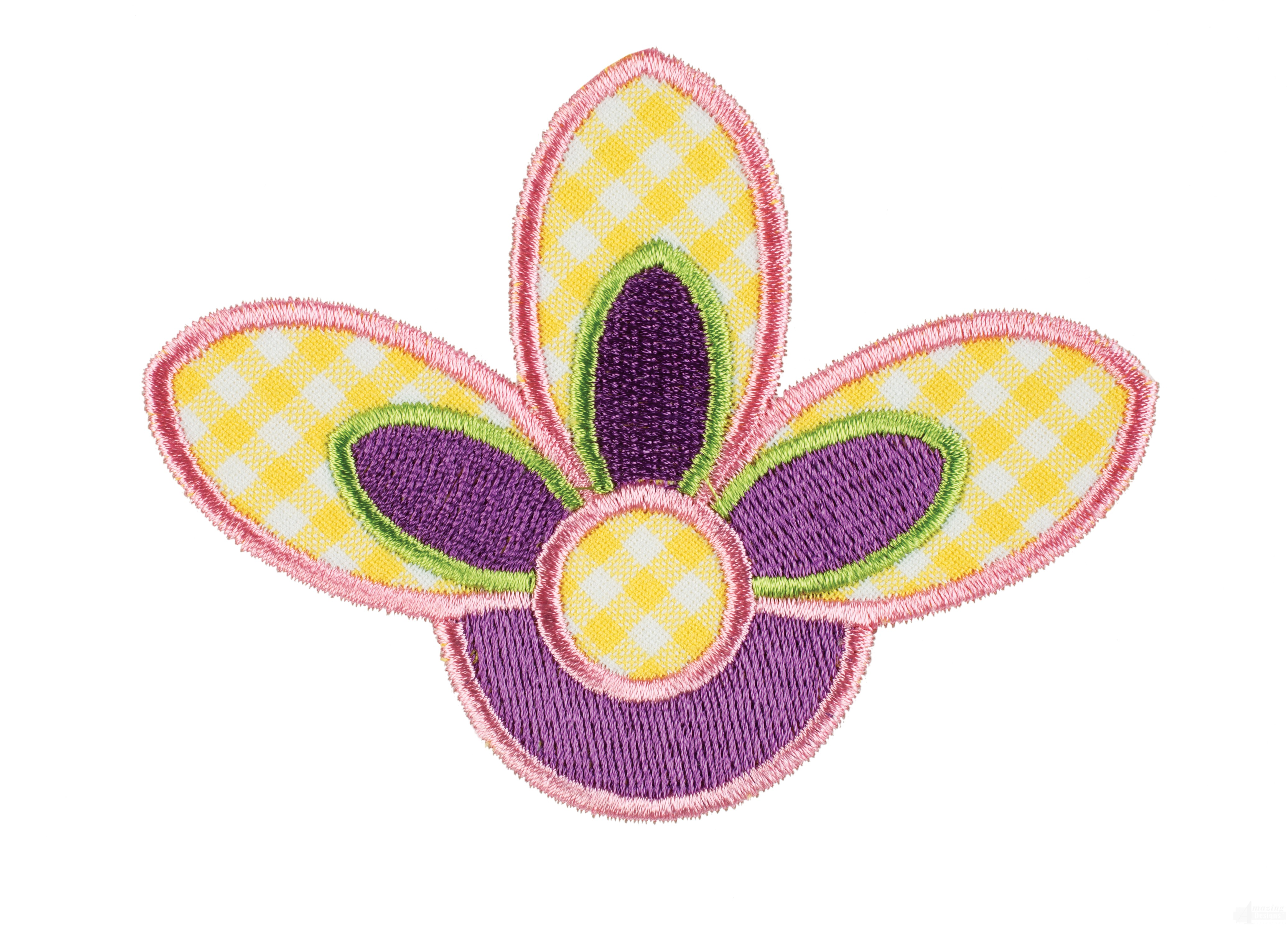 Corner flower happy day applique embroidery design