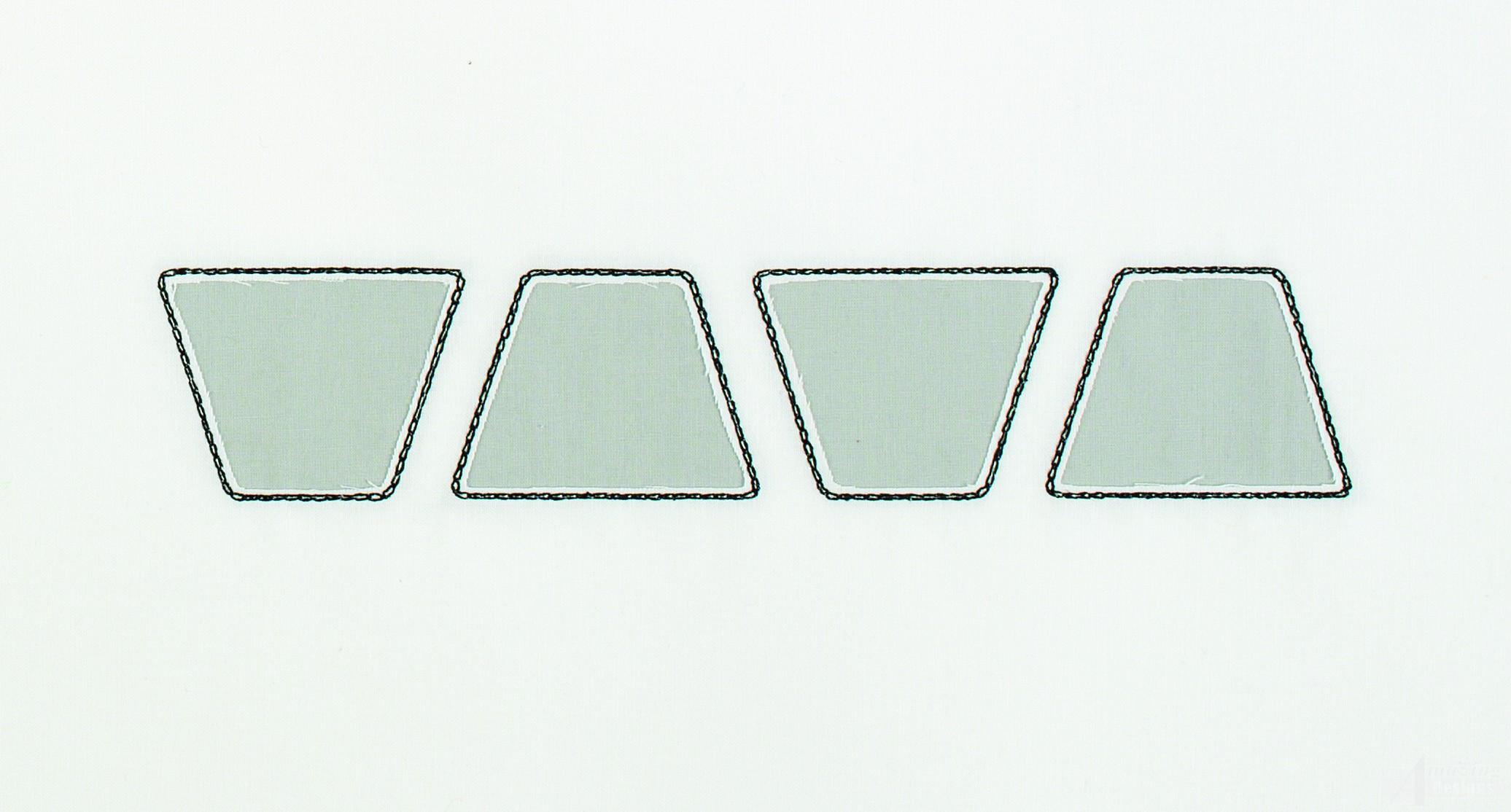 Trapezoid line reverse applique embroidery design