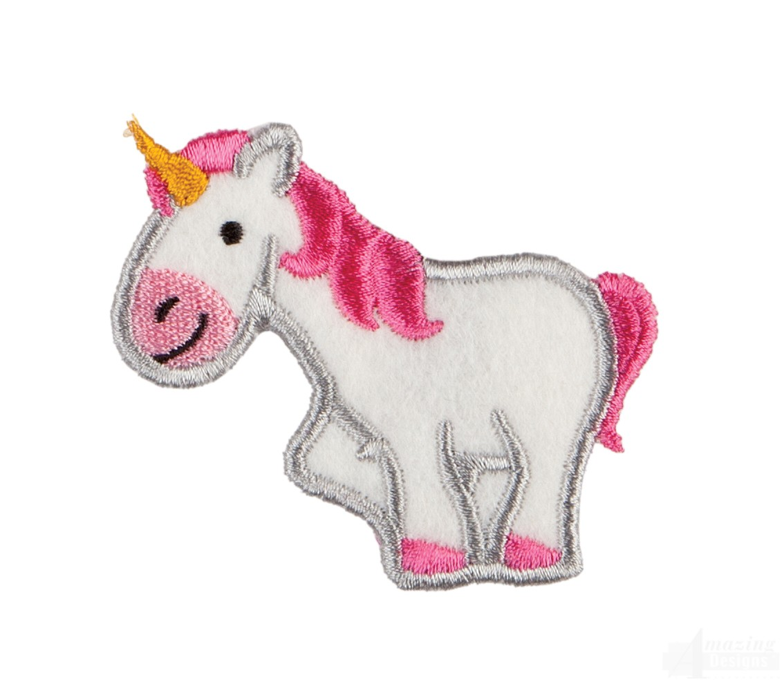 Unicorn in the hoop keychain embroidery design