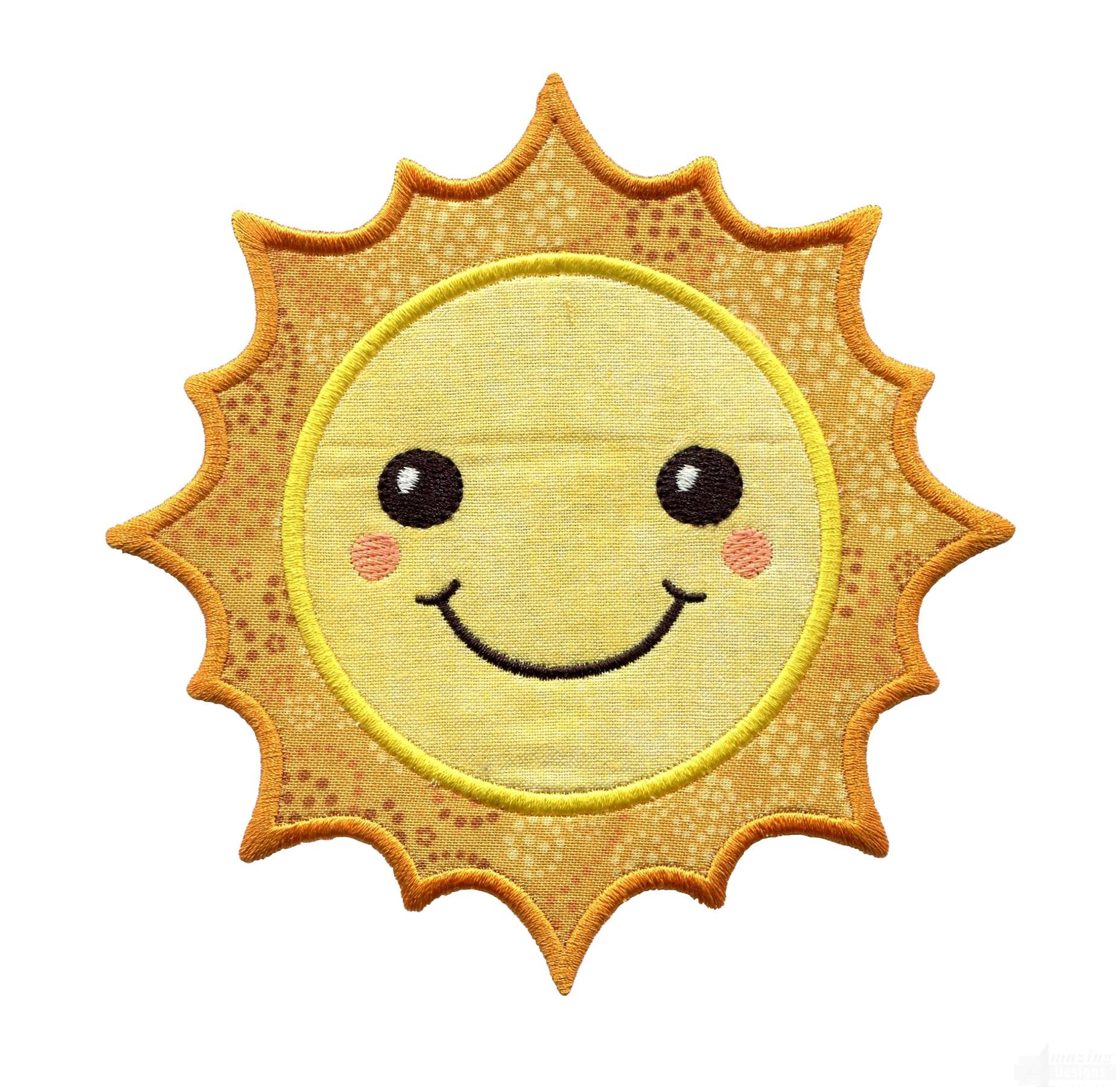 sun holiday face applique