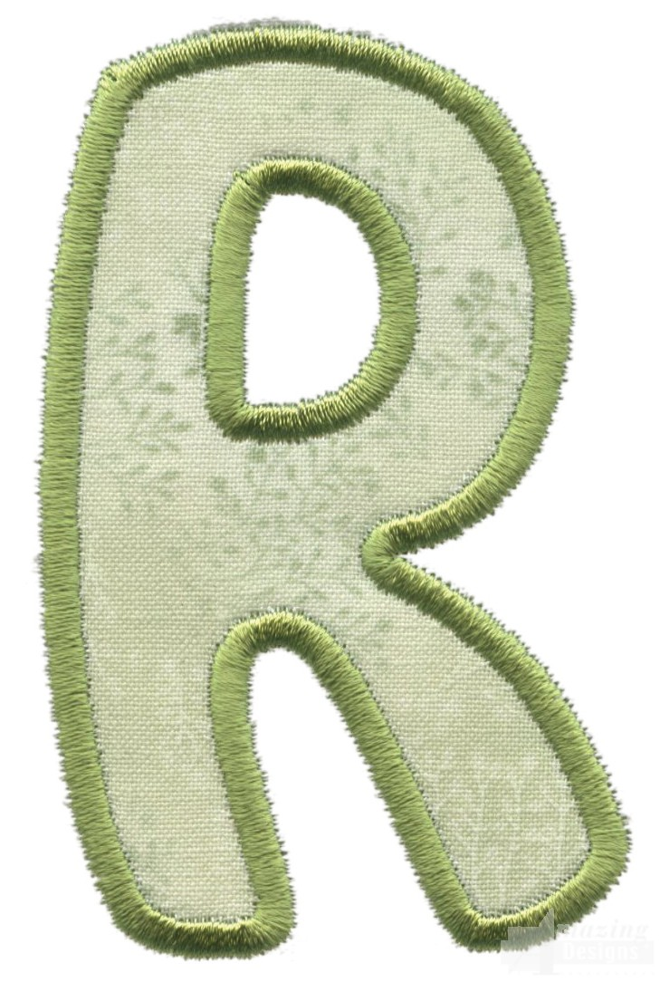 Capital r applique embroidery design