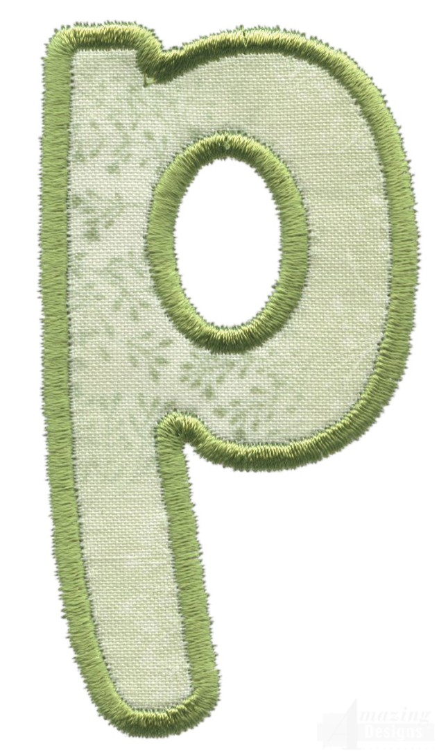 Lower case p applique embroidery design