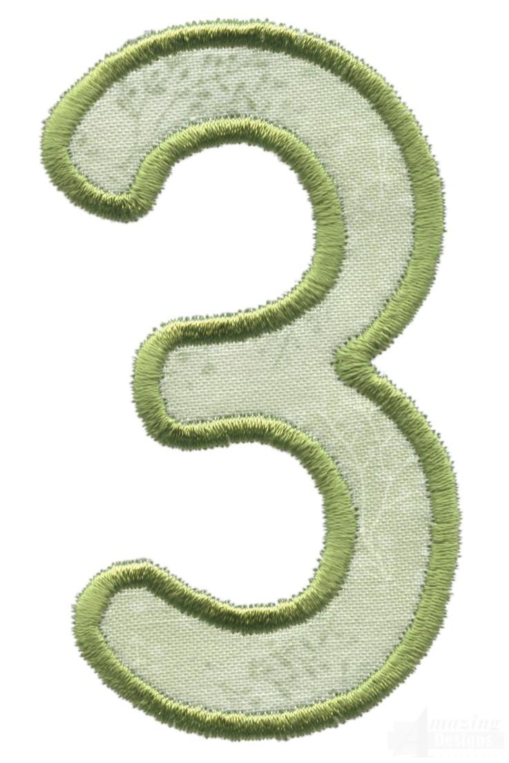 number 3 applique embroidery design. Black Bedroom Furniture Sets. Home Design Ideas