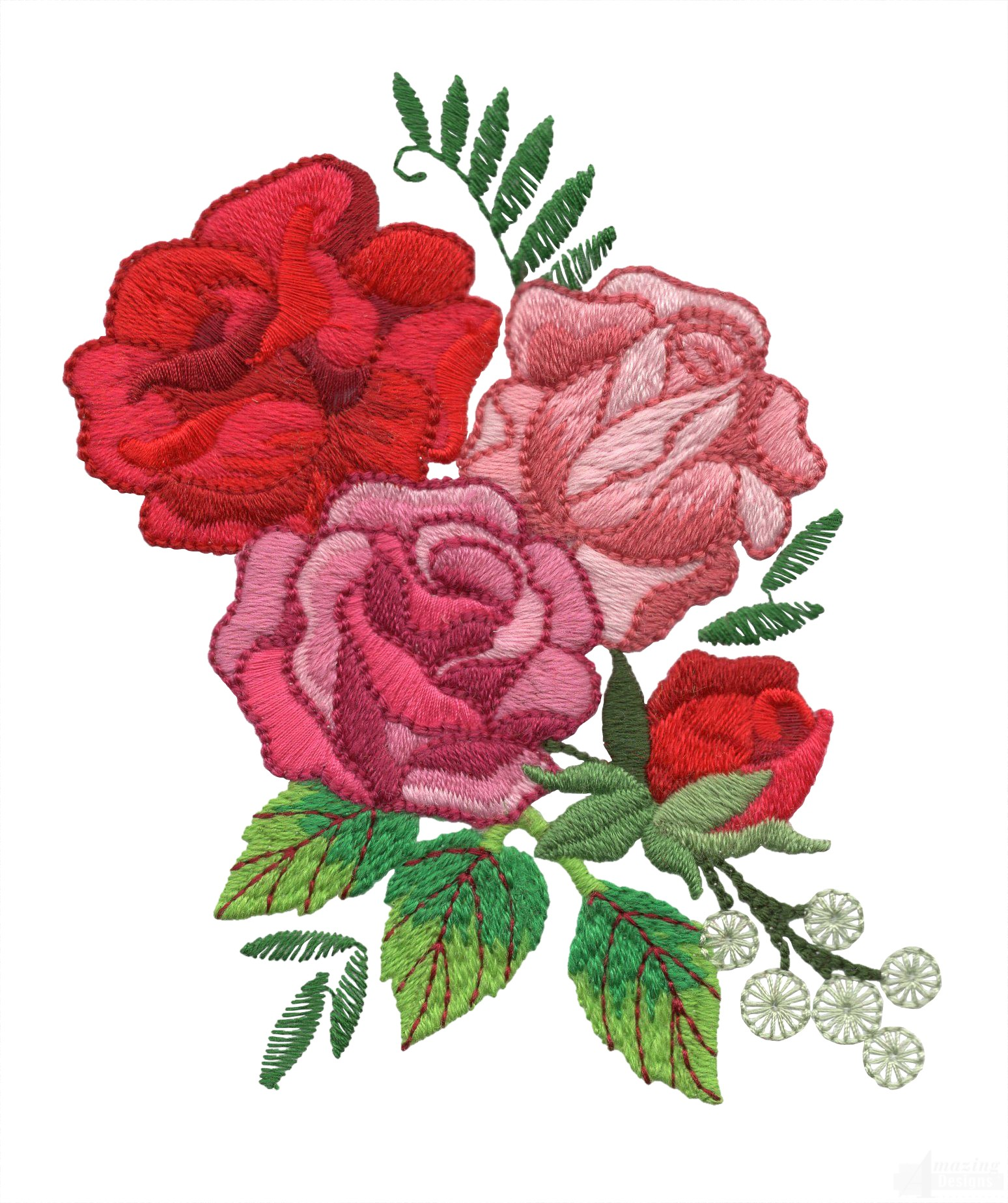 Pink and red roses embroidery design