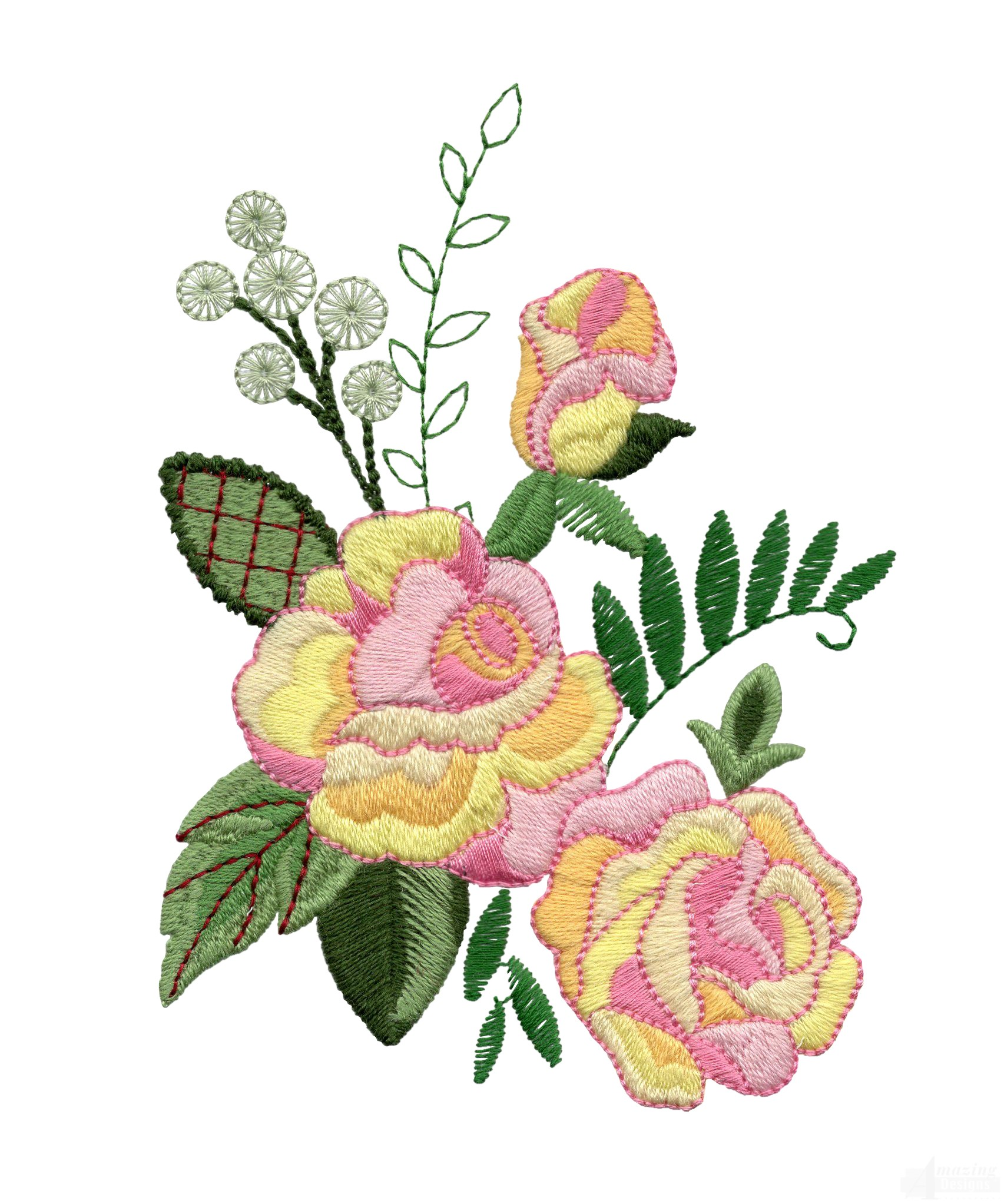 Yellow and pink roses embroidery design