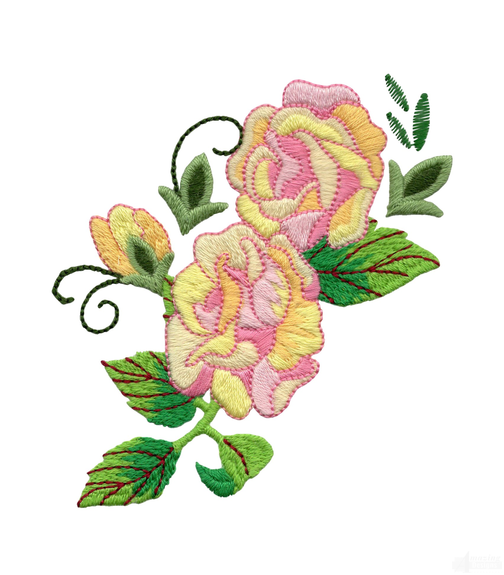 Yellow and pink rose embroidery design