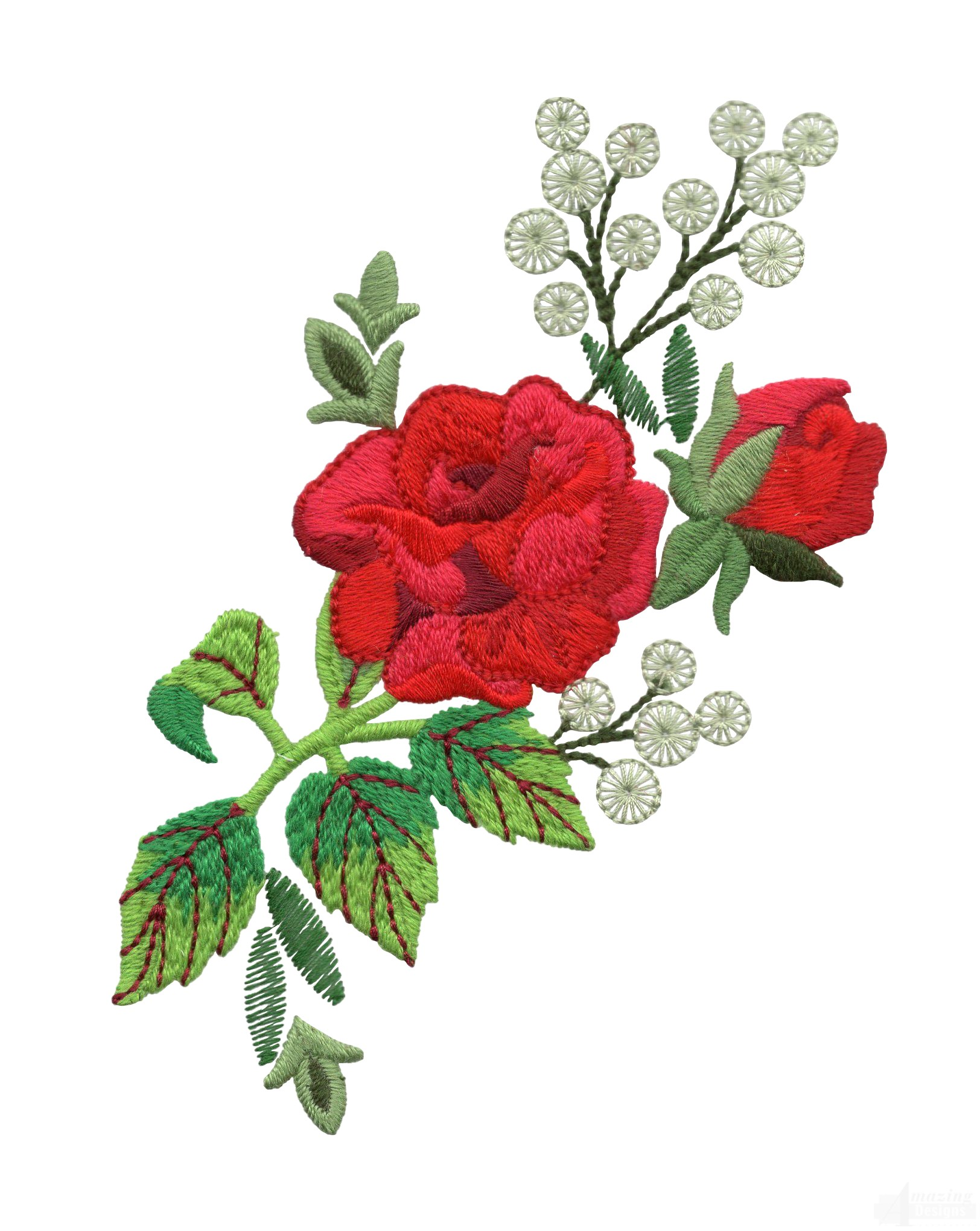 Red rose group embroidery design