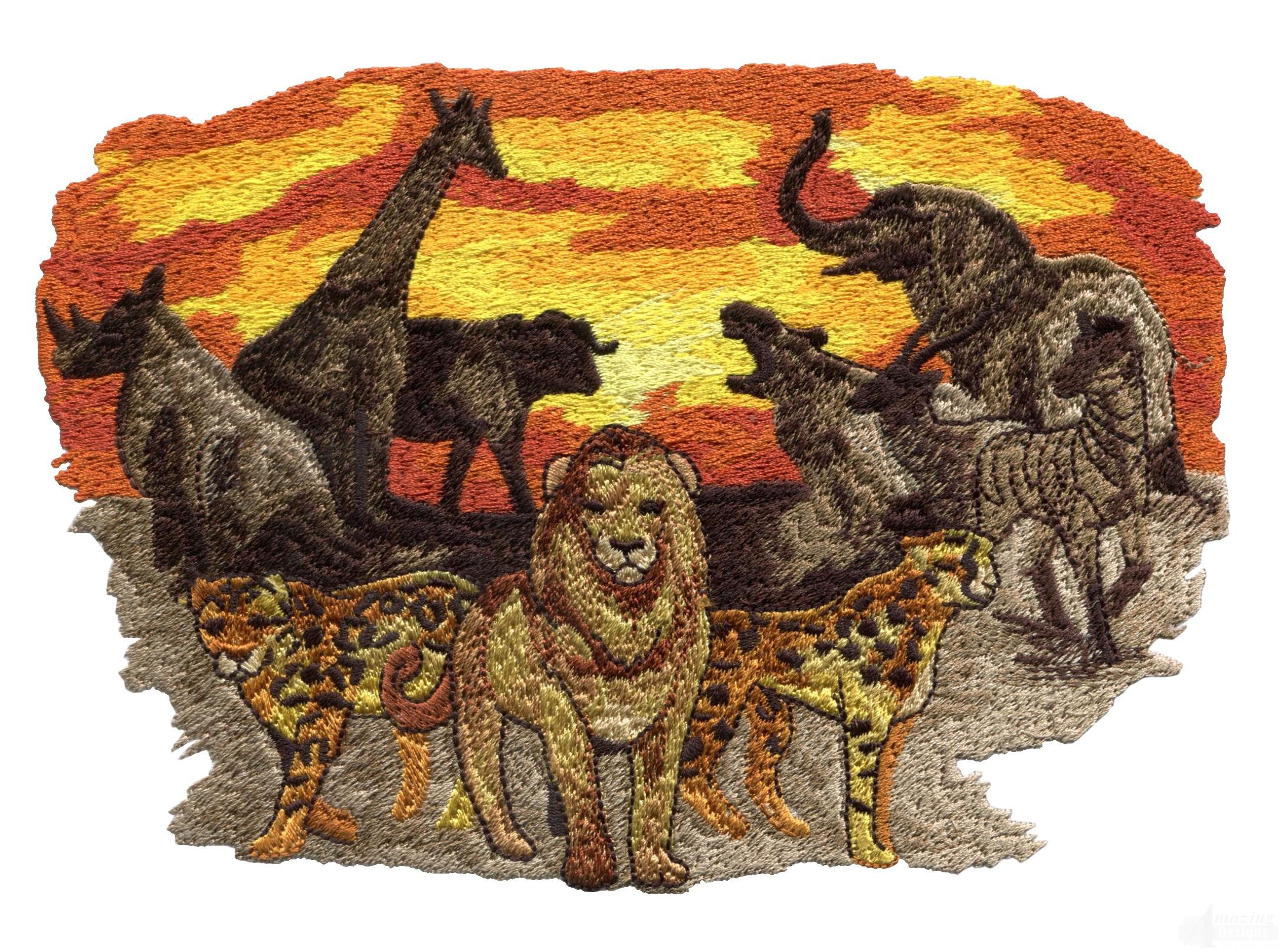 African full animal scene embroidery design