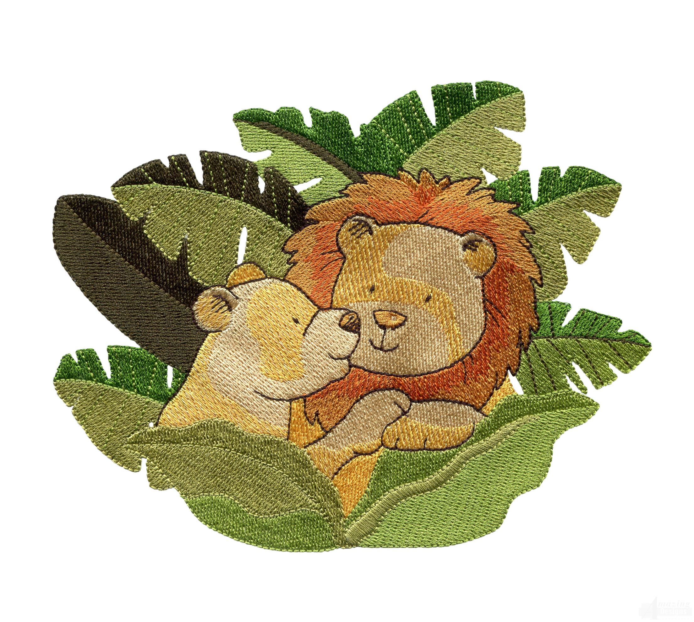 Lions in leaves welcome home embroidery design