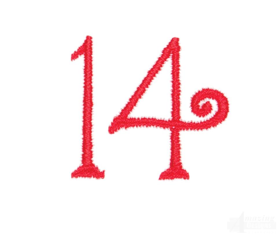 Number 14 Advent Christmas Tree Design