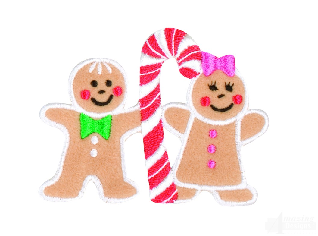 Gingerbread Man And Woman Embroidery Design