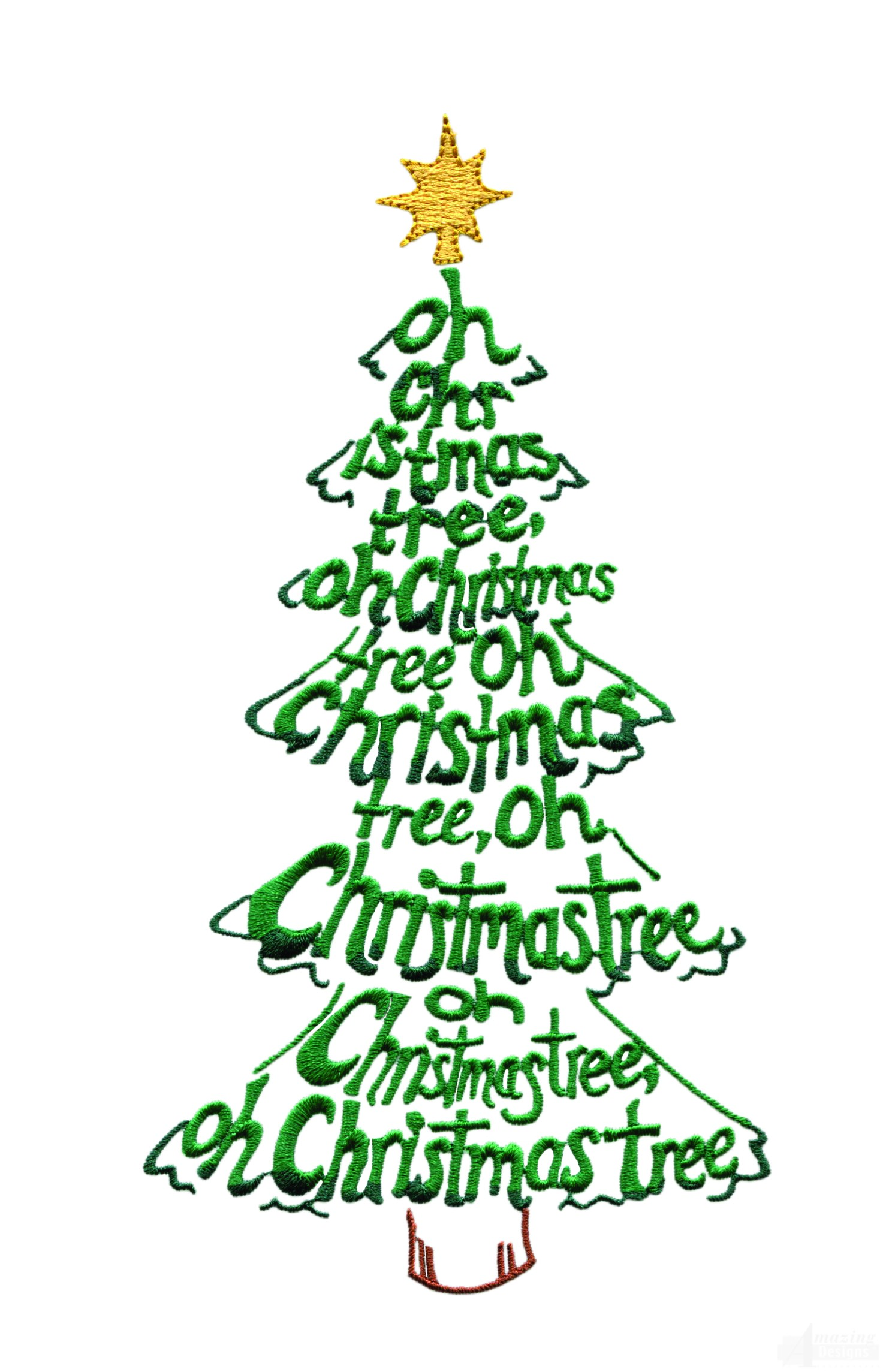 Oh christmas tree tree embroidery design Oh design