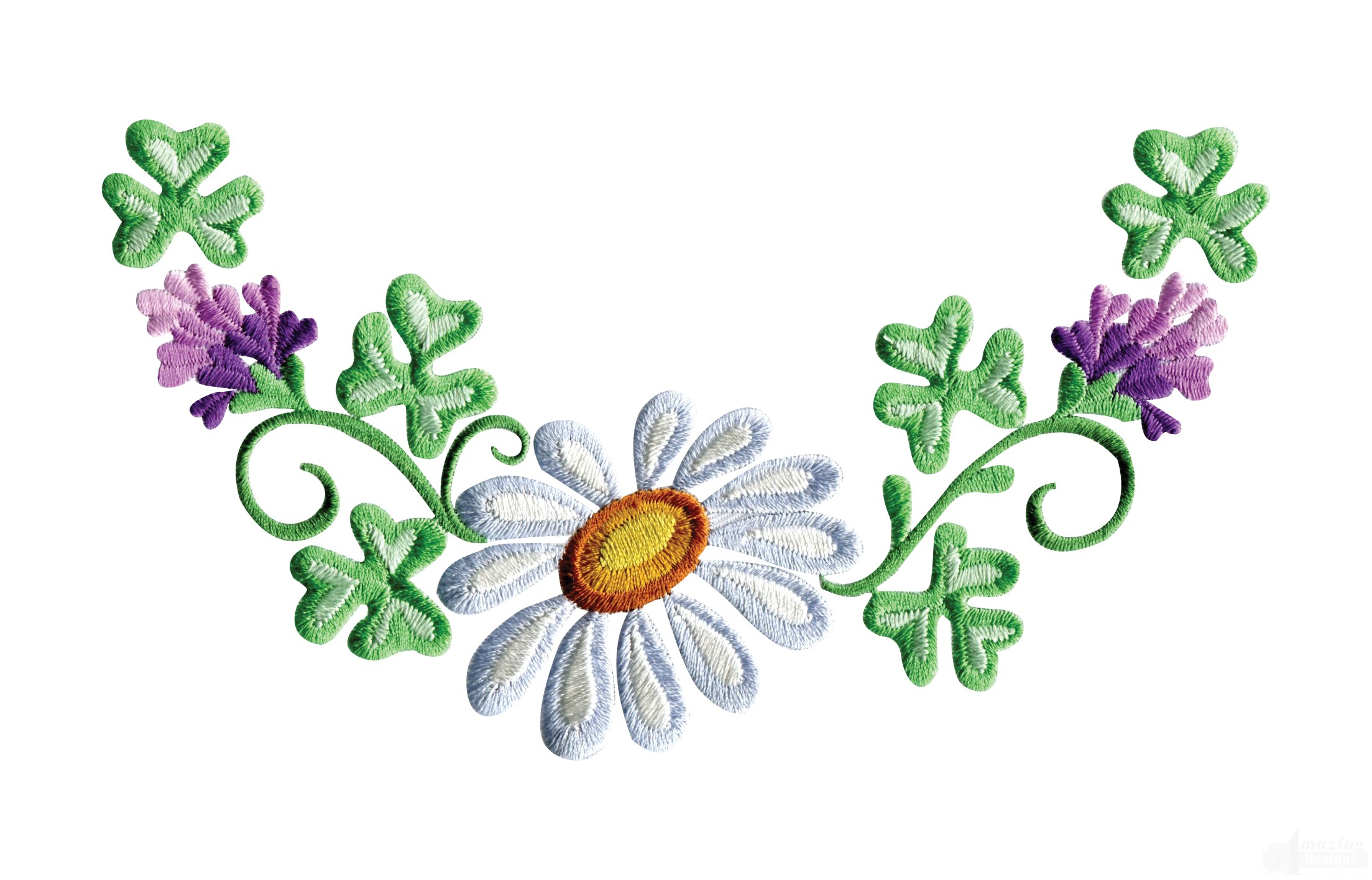 daisy floral border 1 embroidery design clipart for embroidery digitizing Cut Clip Art
