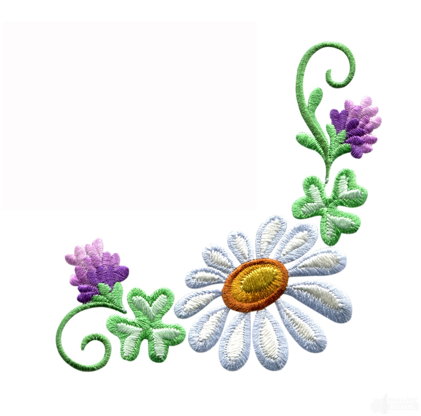 Daisy Floral Border 3 Embroidery Design