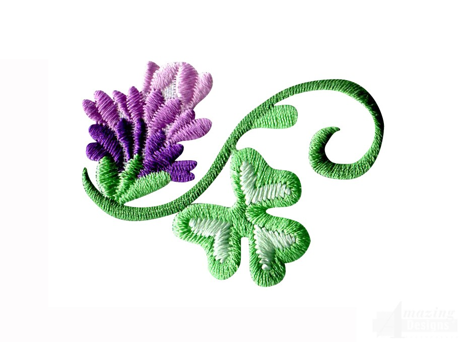 Flower and clover embroidery design