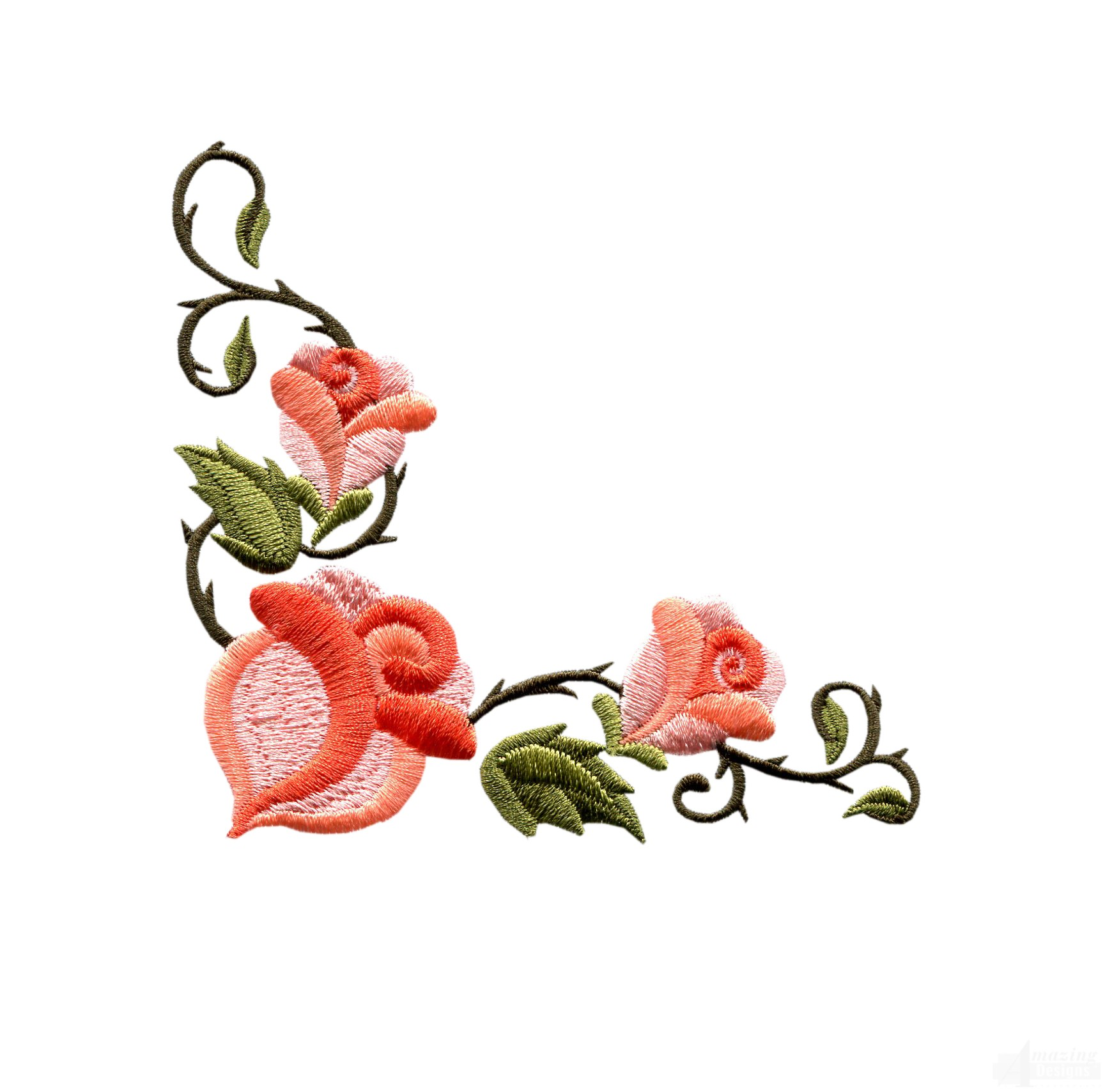 Rose floral border embroidery design