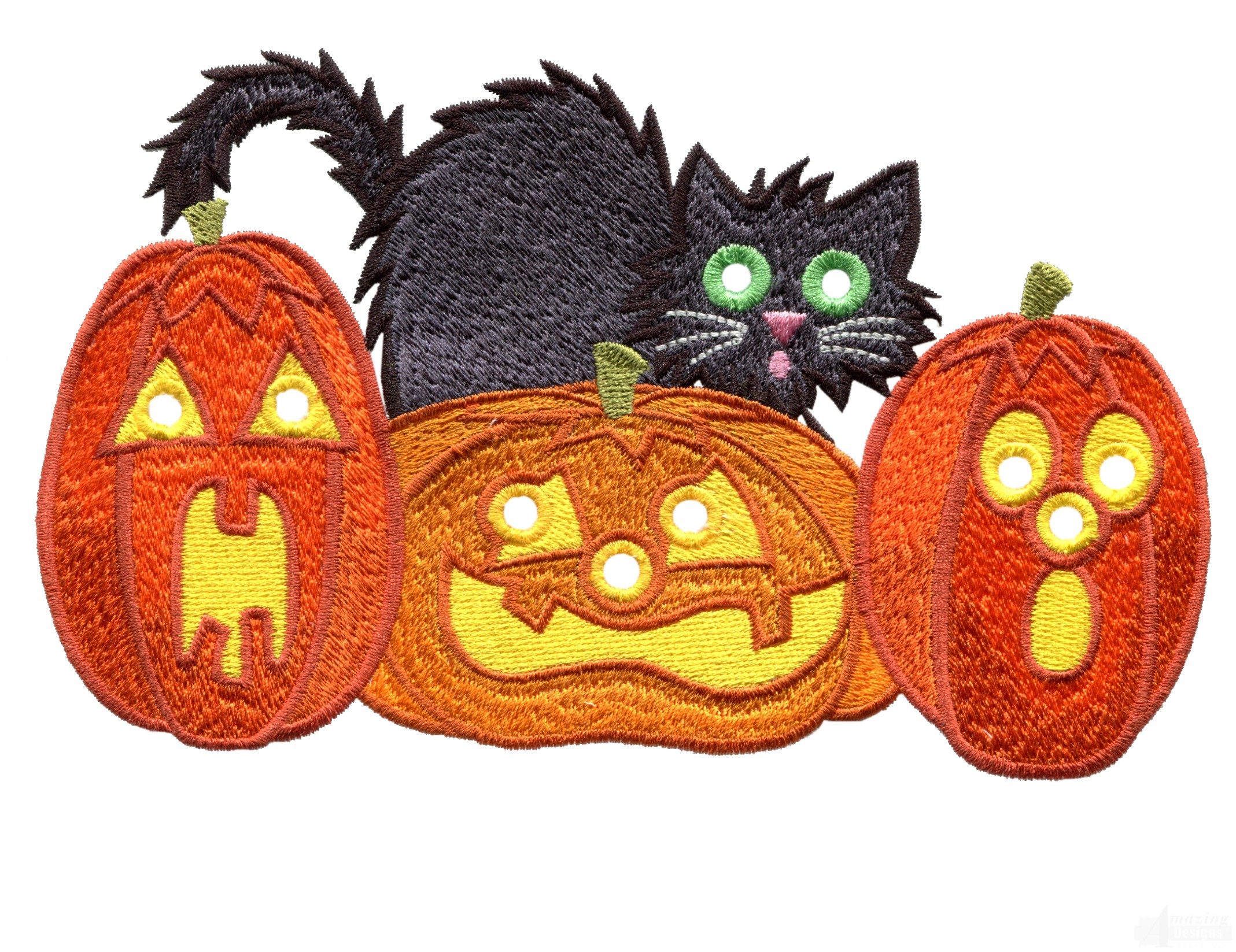 Pumpkins and cat embroidery design for Pumpkin kitty designs