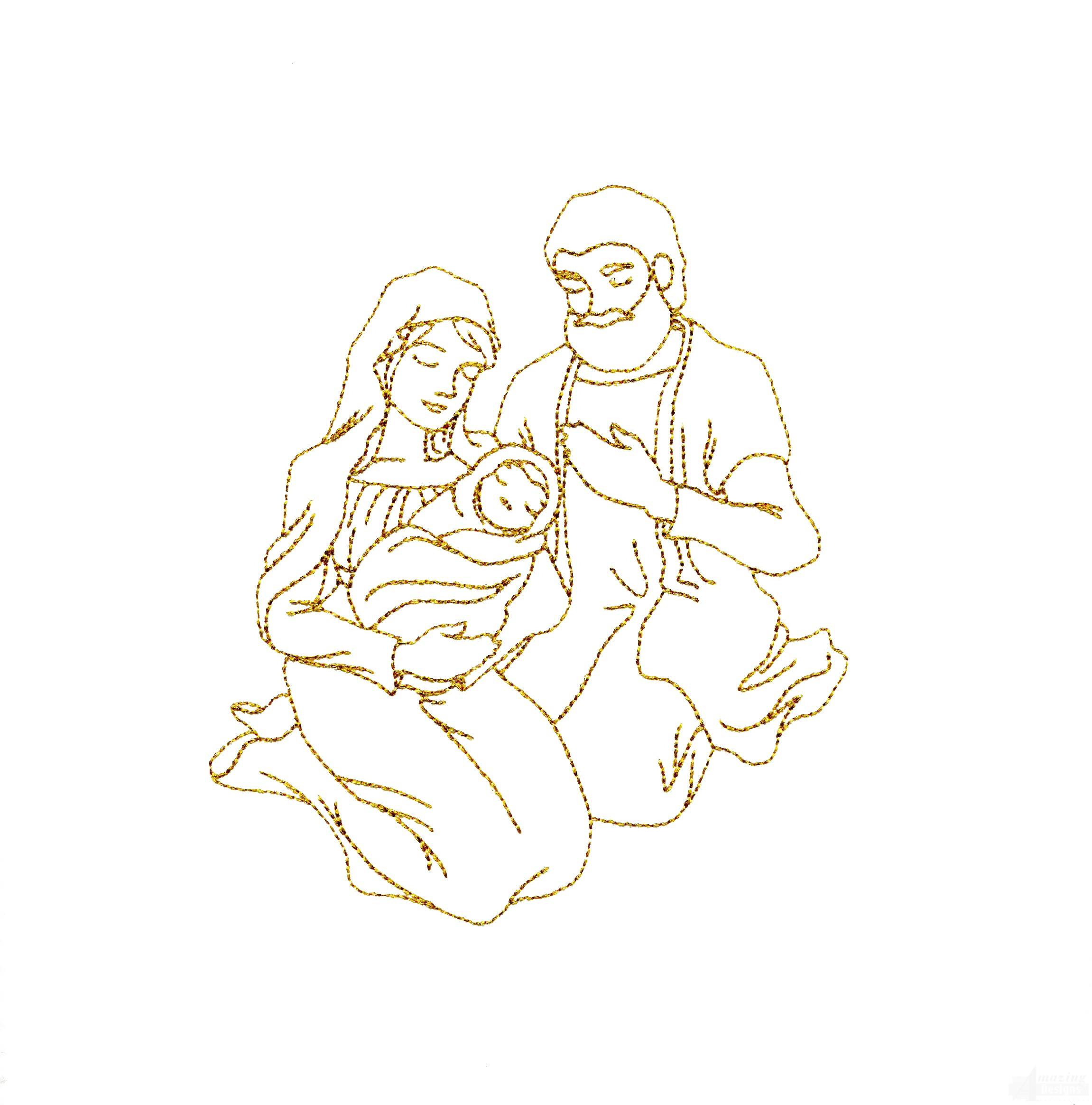 linework baby jesus embroidery design