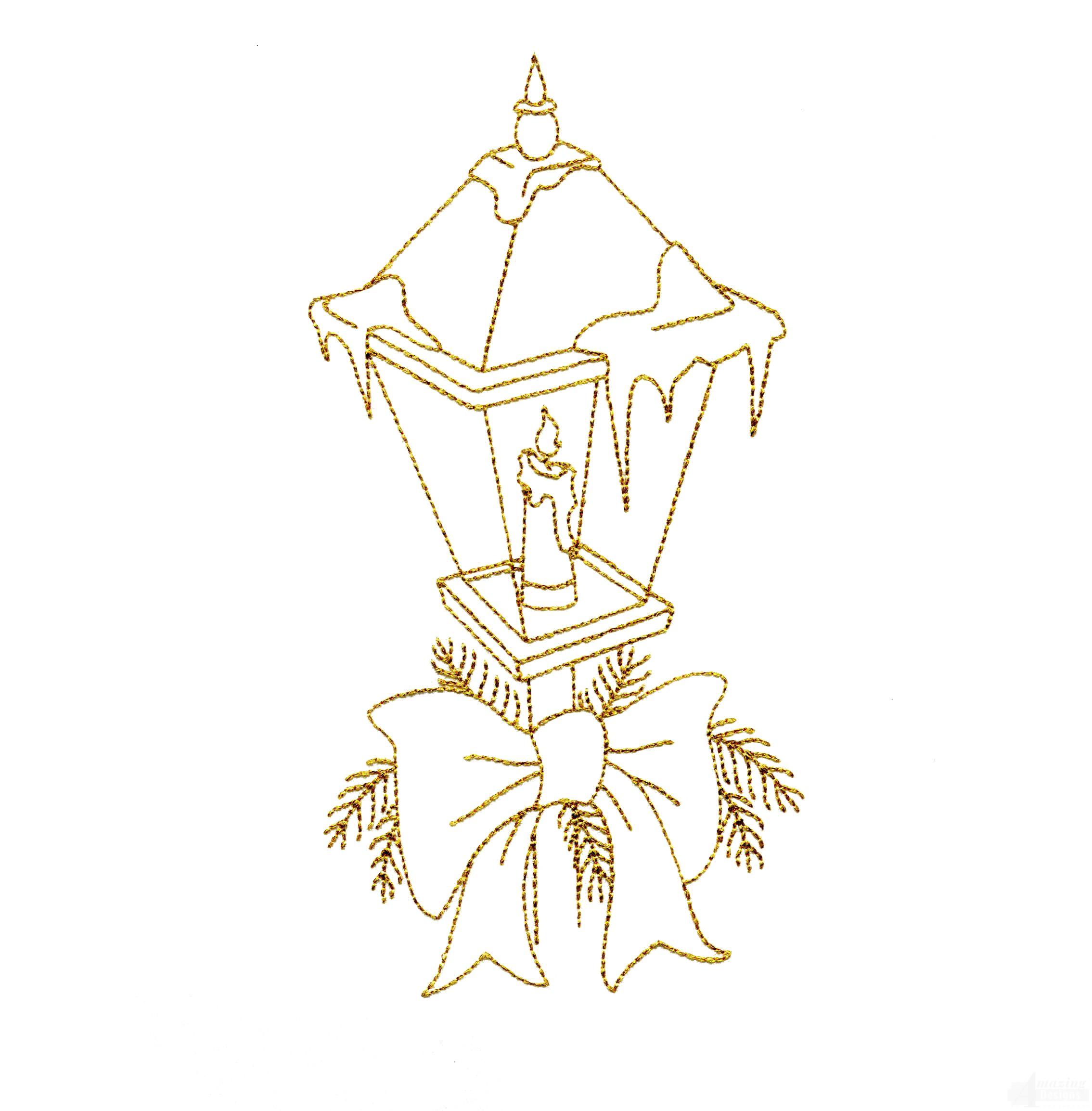 Christmas Lightpost Embroidery Design