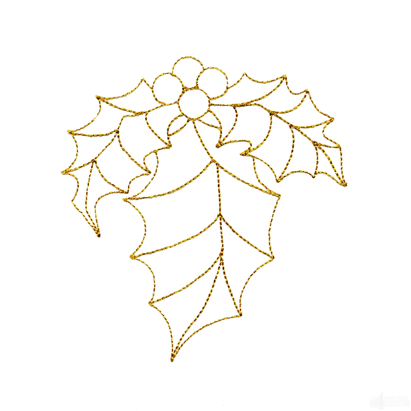 Line Work Design : Linework holly embroidery design