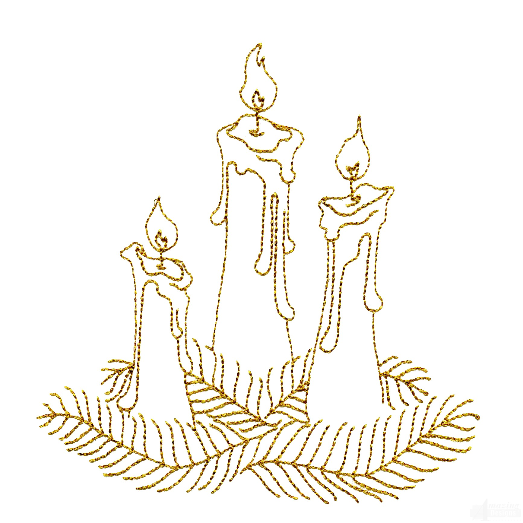 Line Work Design : Linework candles embroidery design