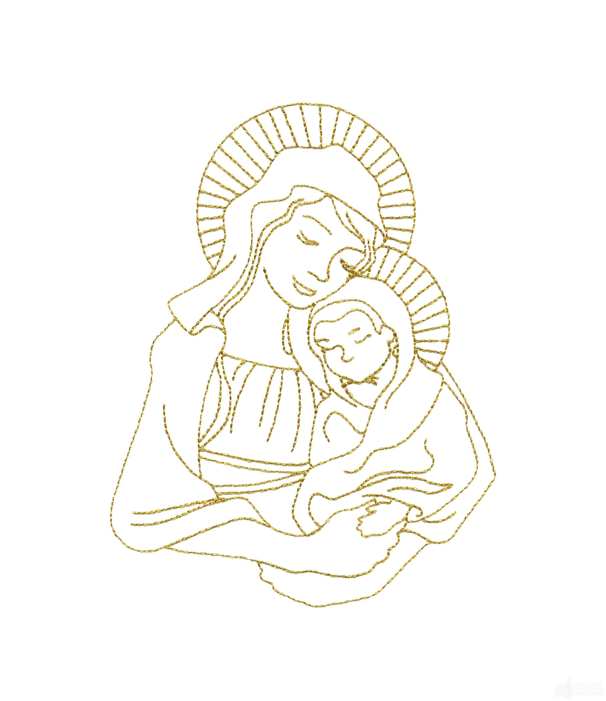 Line Work Design : Linework mary and jesus embroidery design