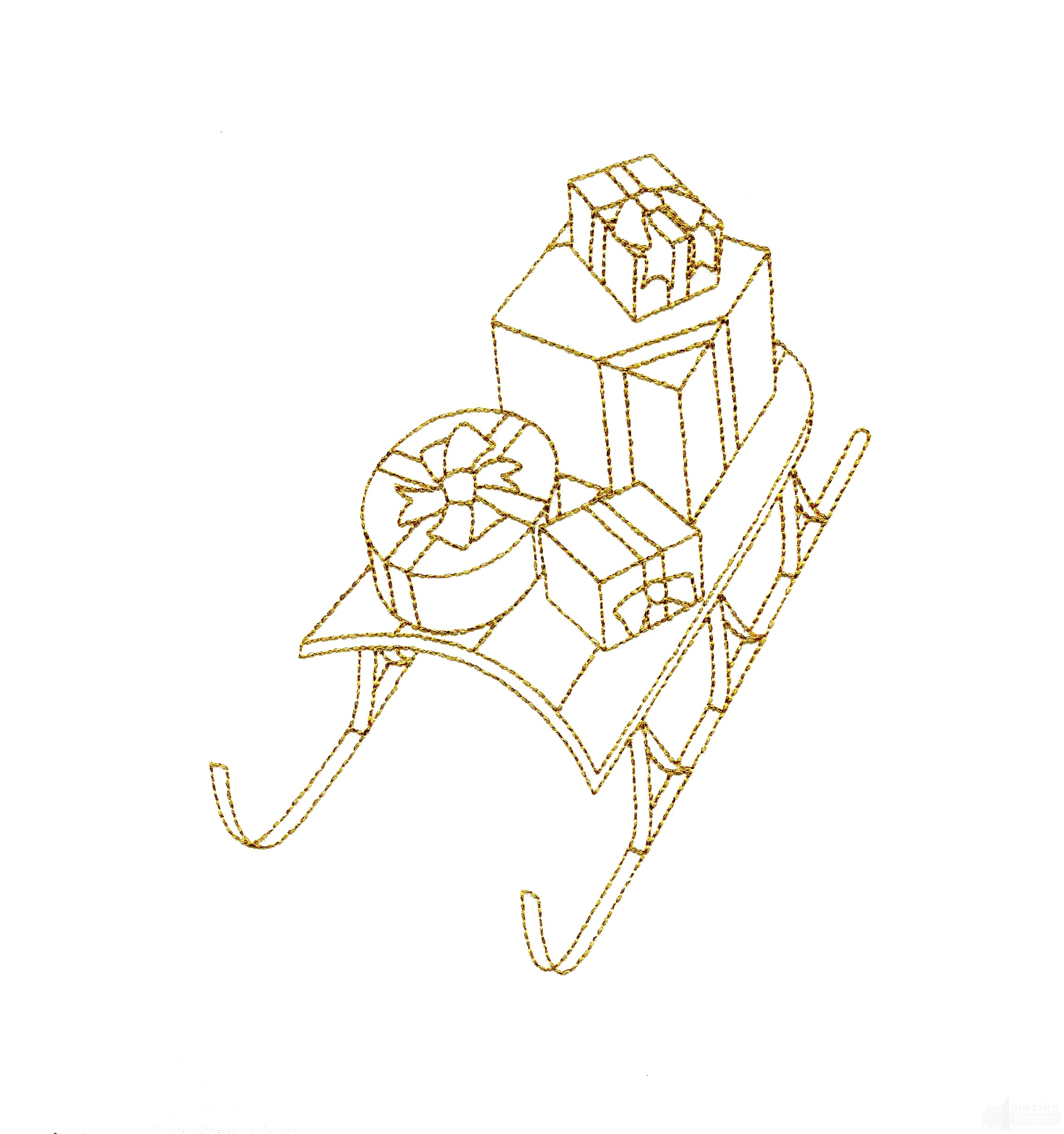 Line Work Design : Linework sled and presents embroidery design