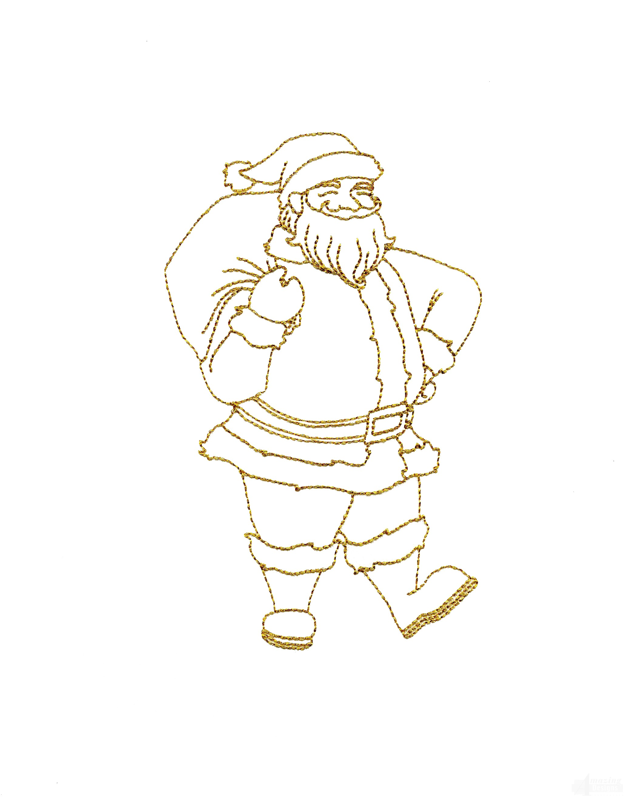 Line Work Design : Linework full body santa embroidery design