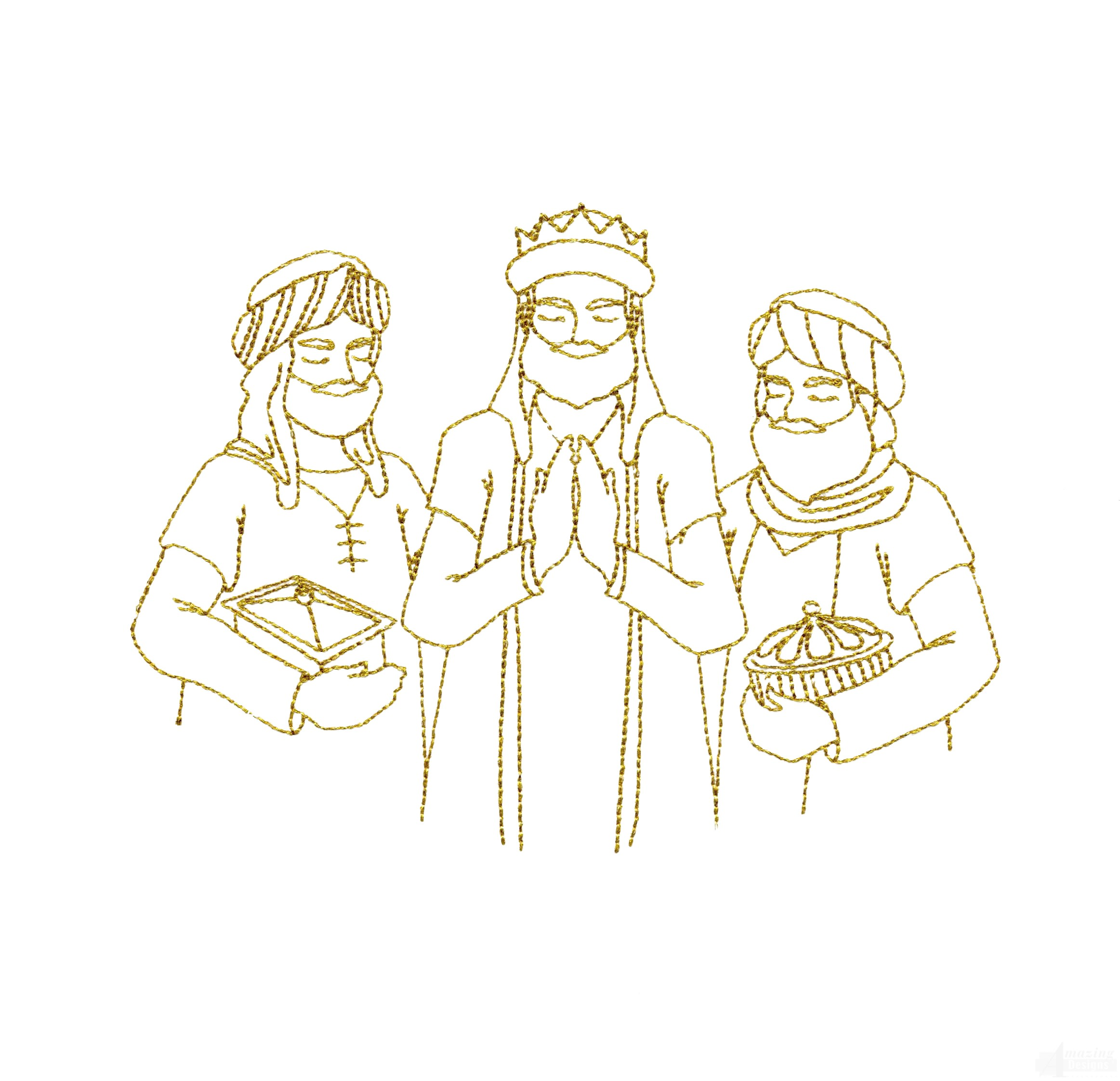 Line Work Design : Linework wisemen embroidery design