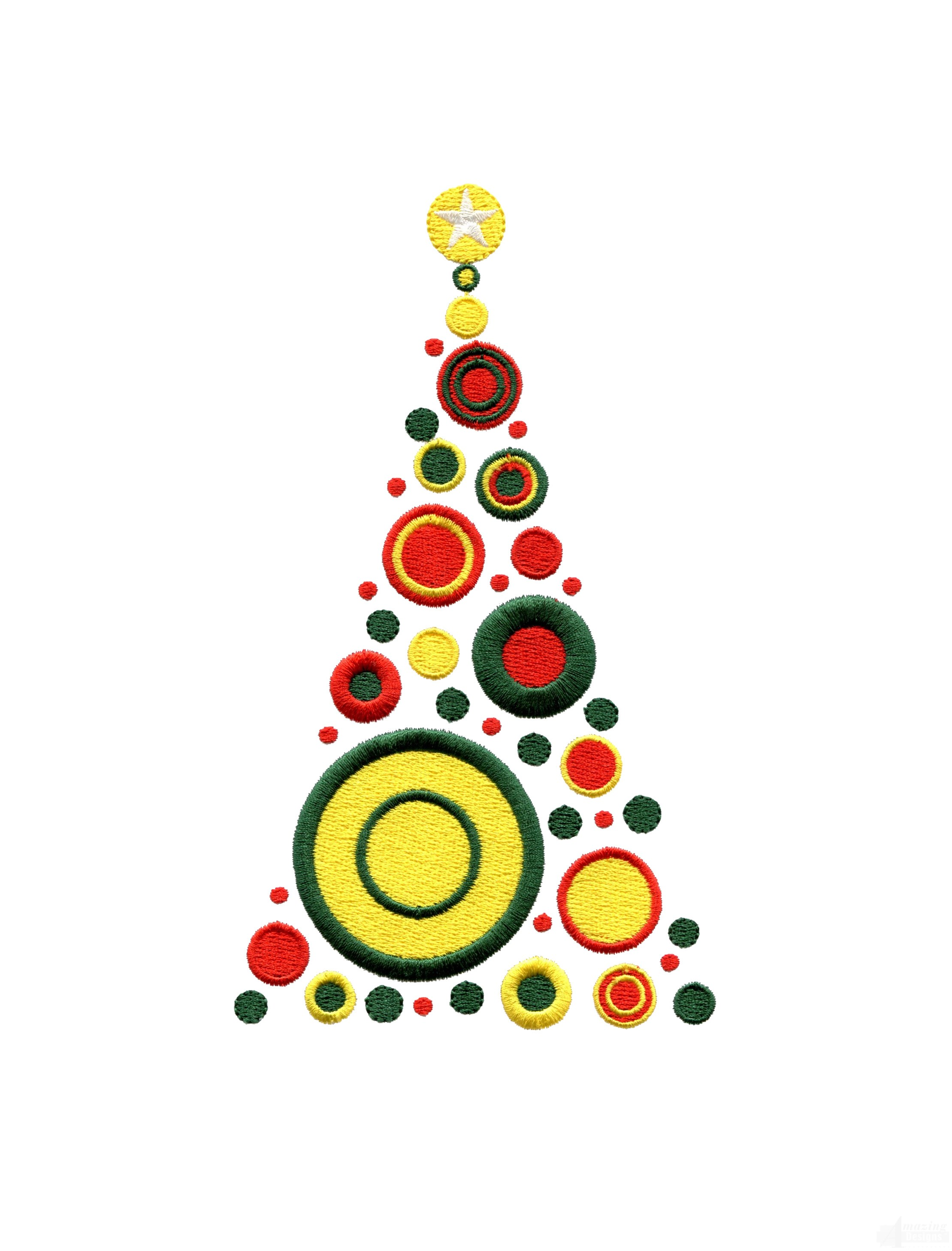 Circle Christmas Tree Embroidery Design
