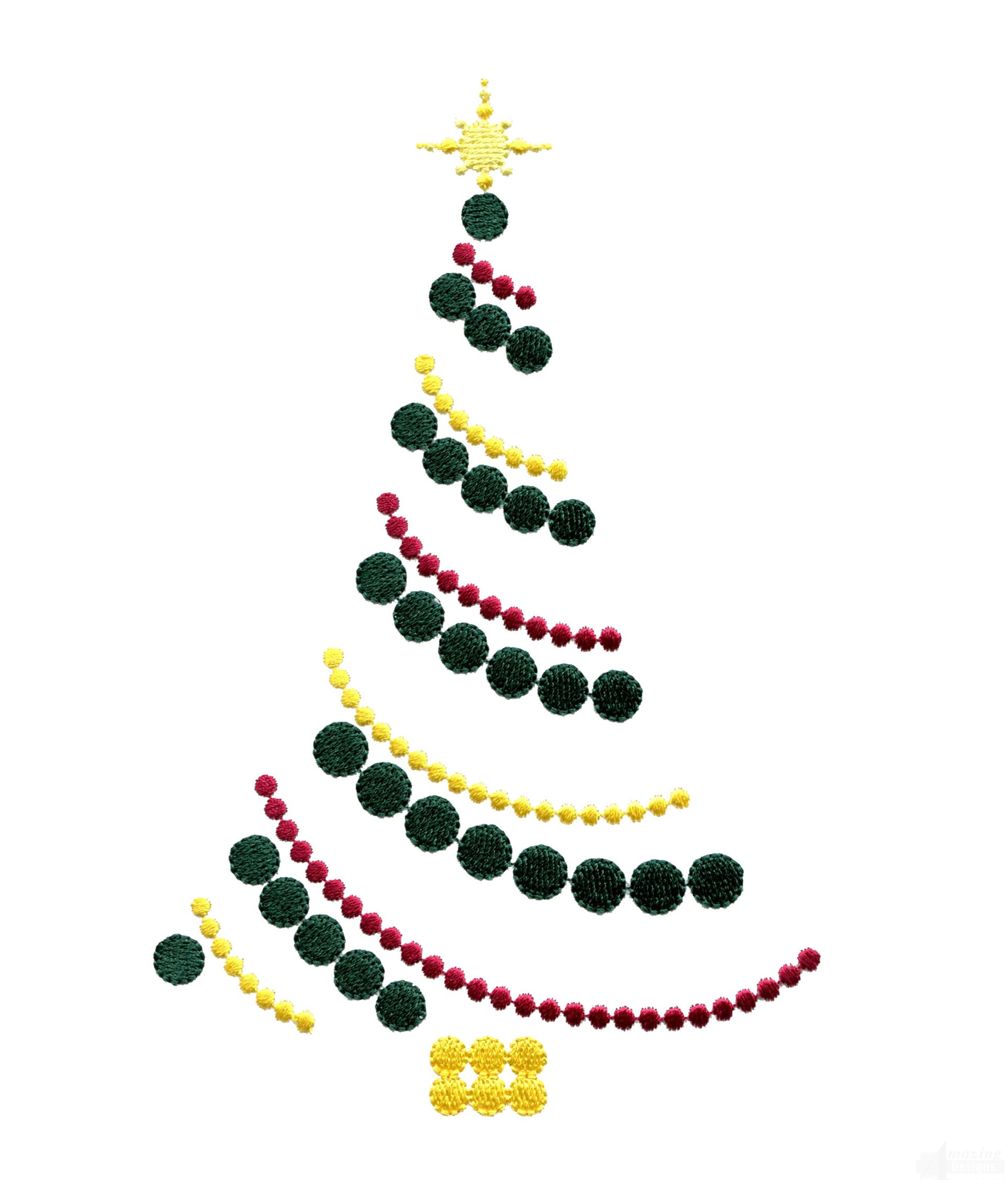Ornament Chain Christmas Tree Embroidery Design