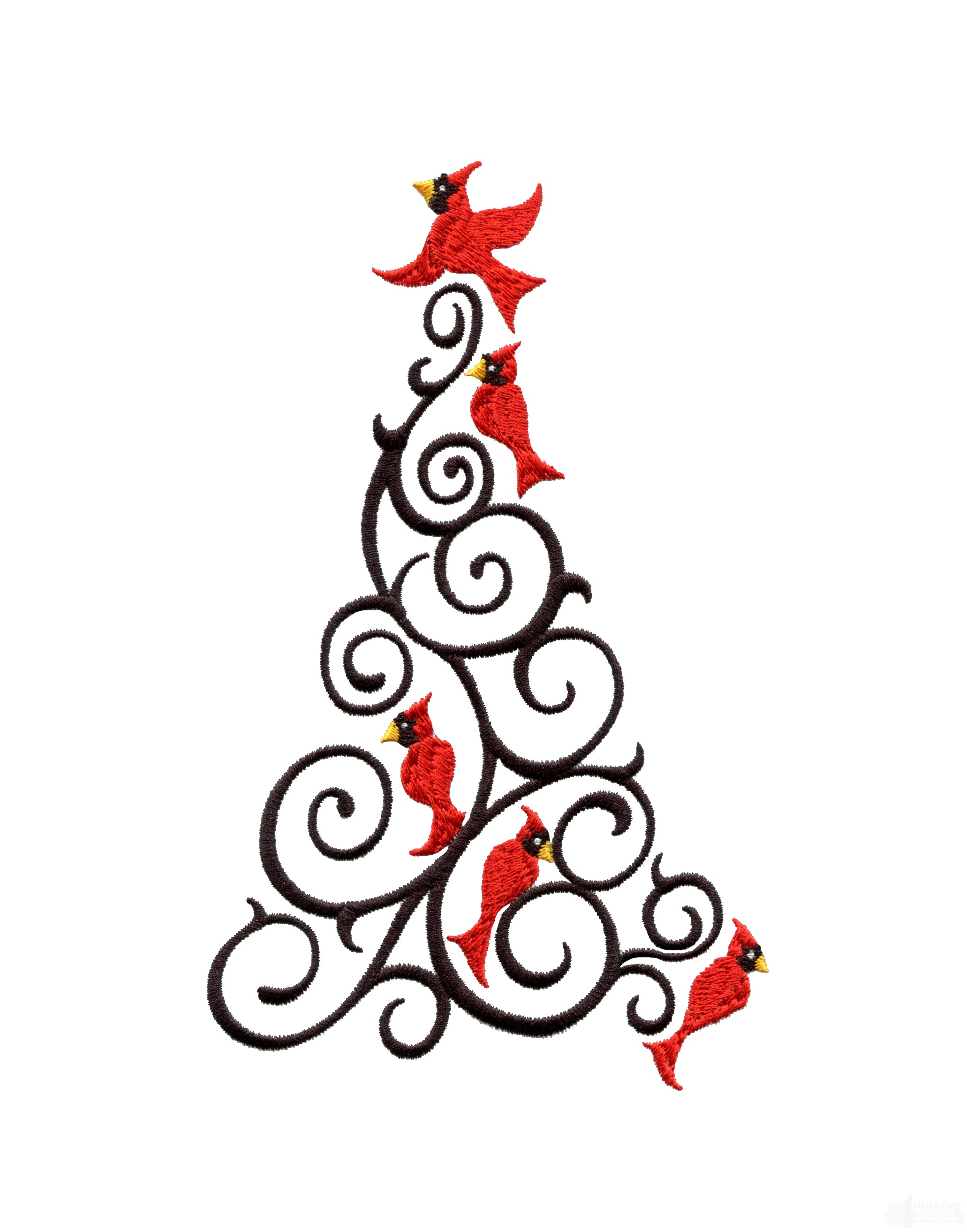 Cardinal Christmas Tree Embroidery Design