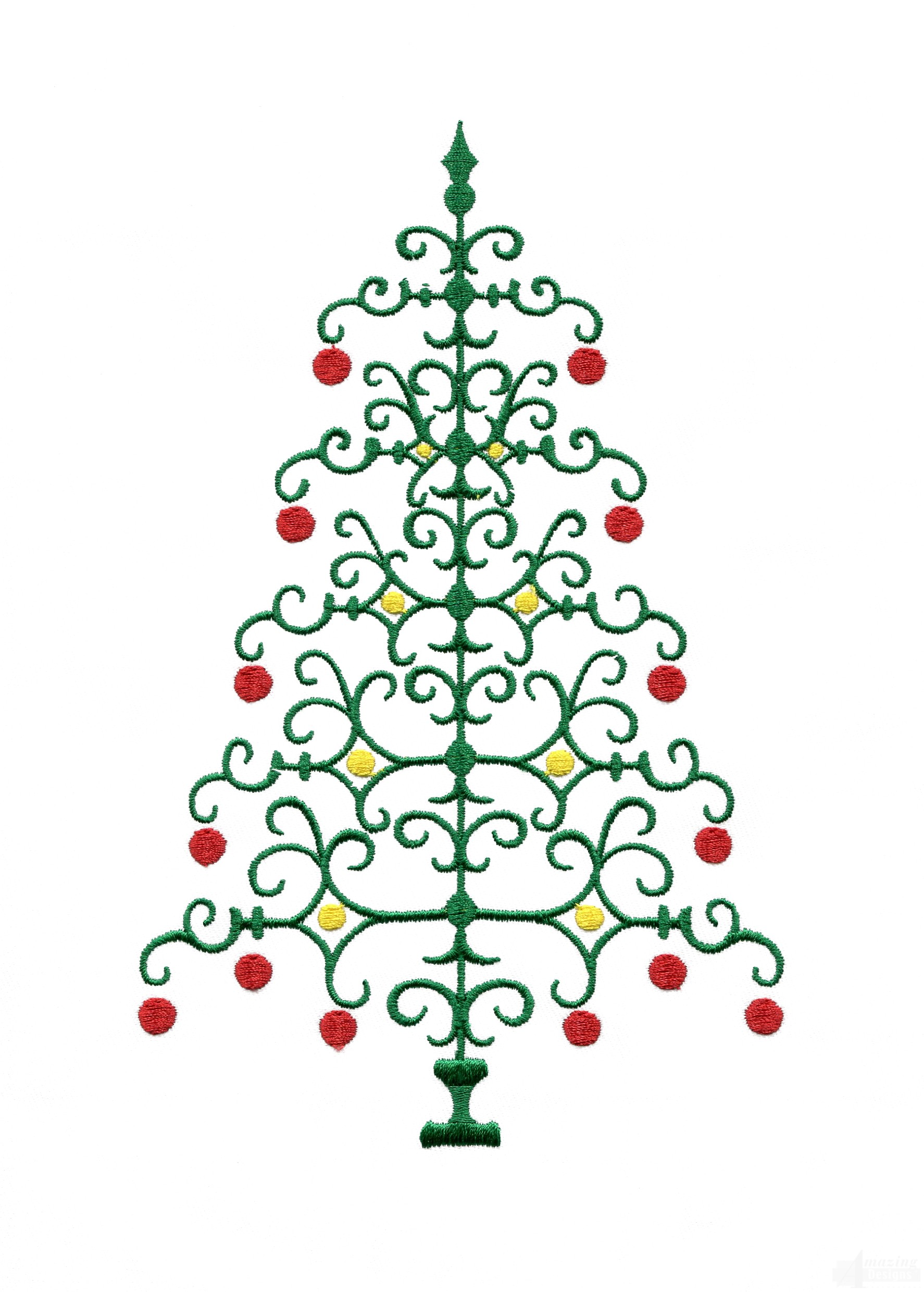 Christmas tree design pictures : Ironwork christmas tree embroidery design