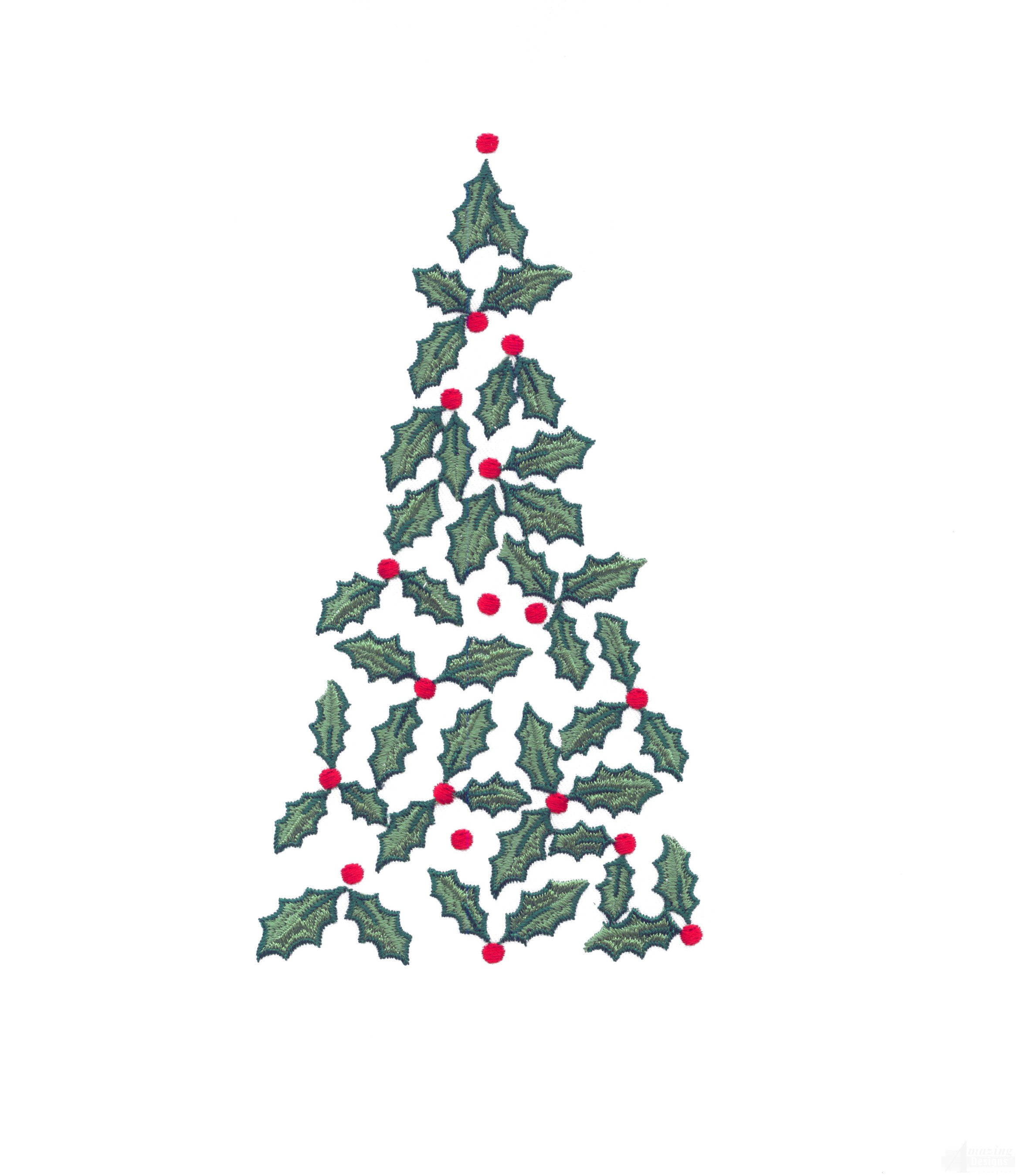Holly christmas tree embroidery design