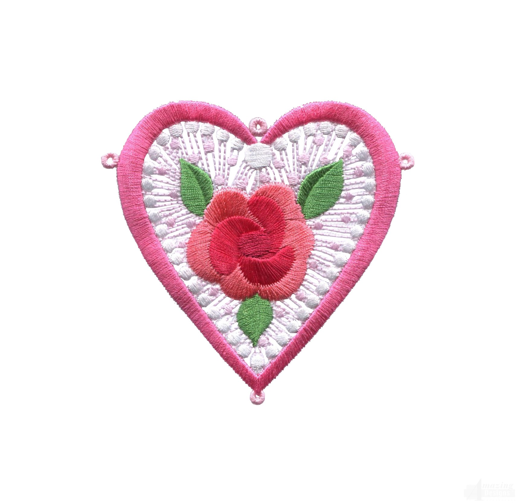 Rose lhrts heart embroidery design