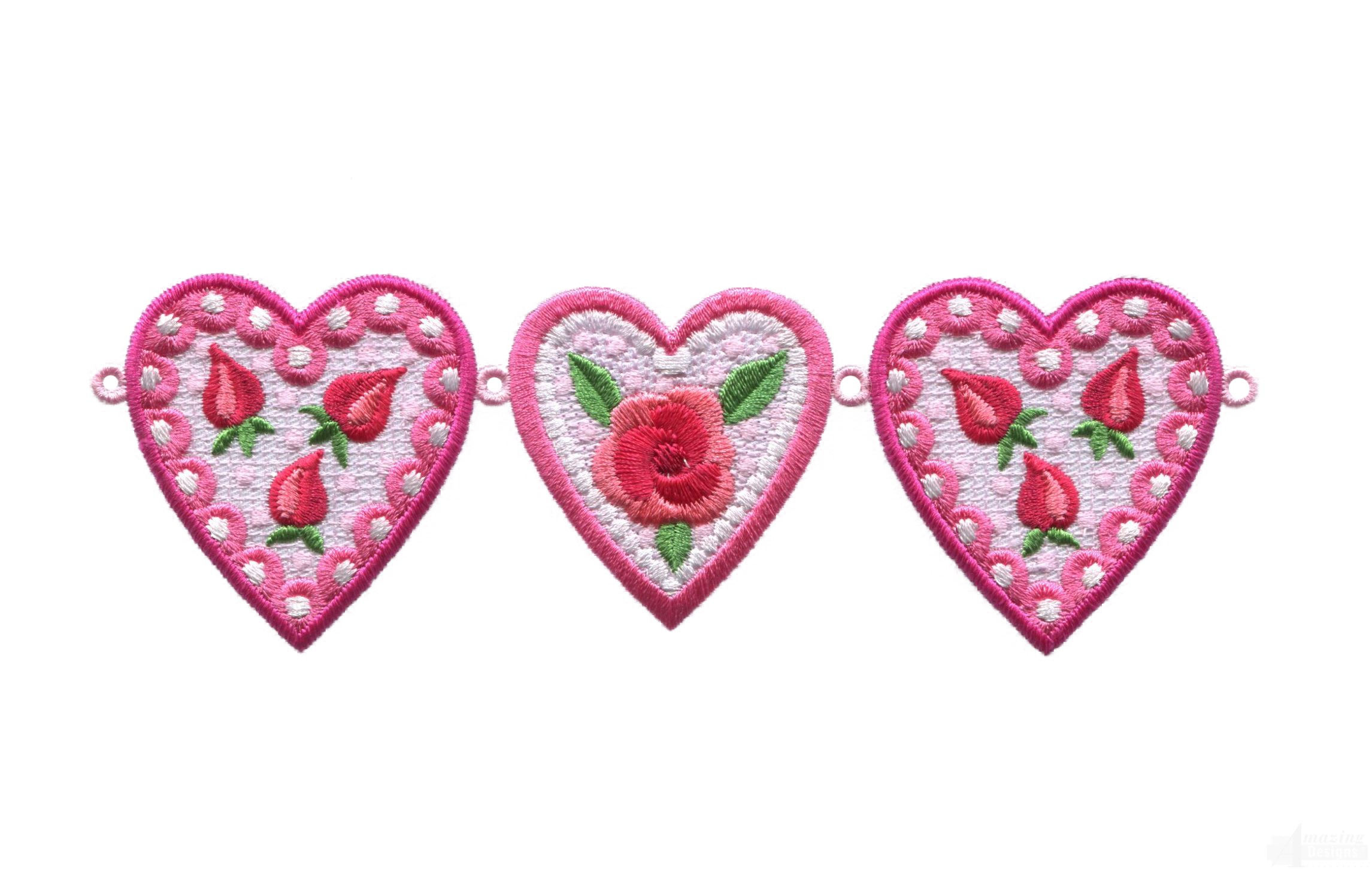 Small heart chain lhrts embroidery design