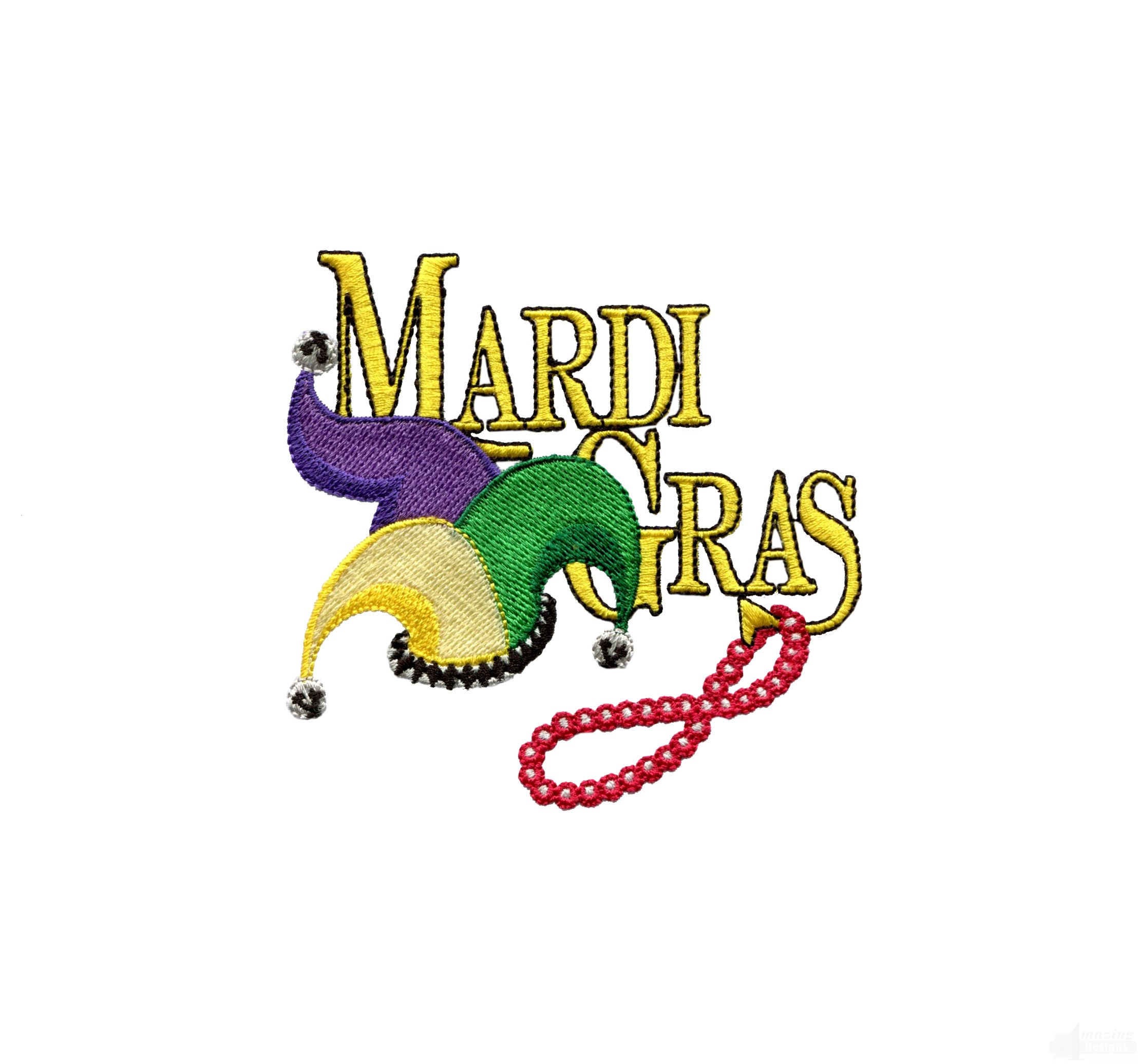Mardi Gras Beads Border Mardi gras hat and beads