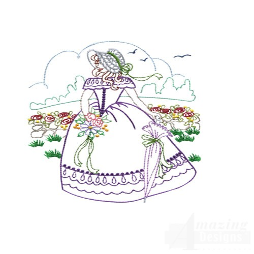 Stroll in the garden embroidery design collection for Garden embroidery designs free