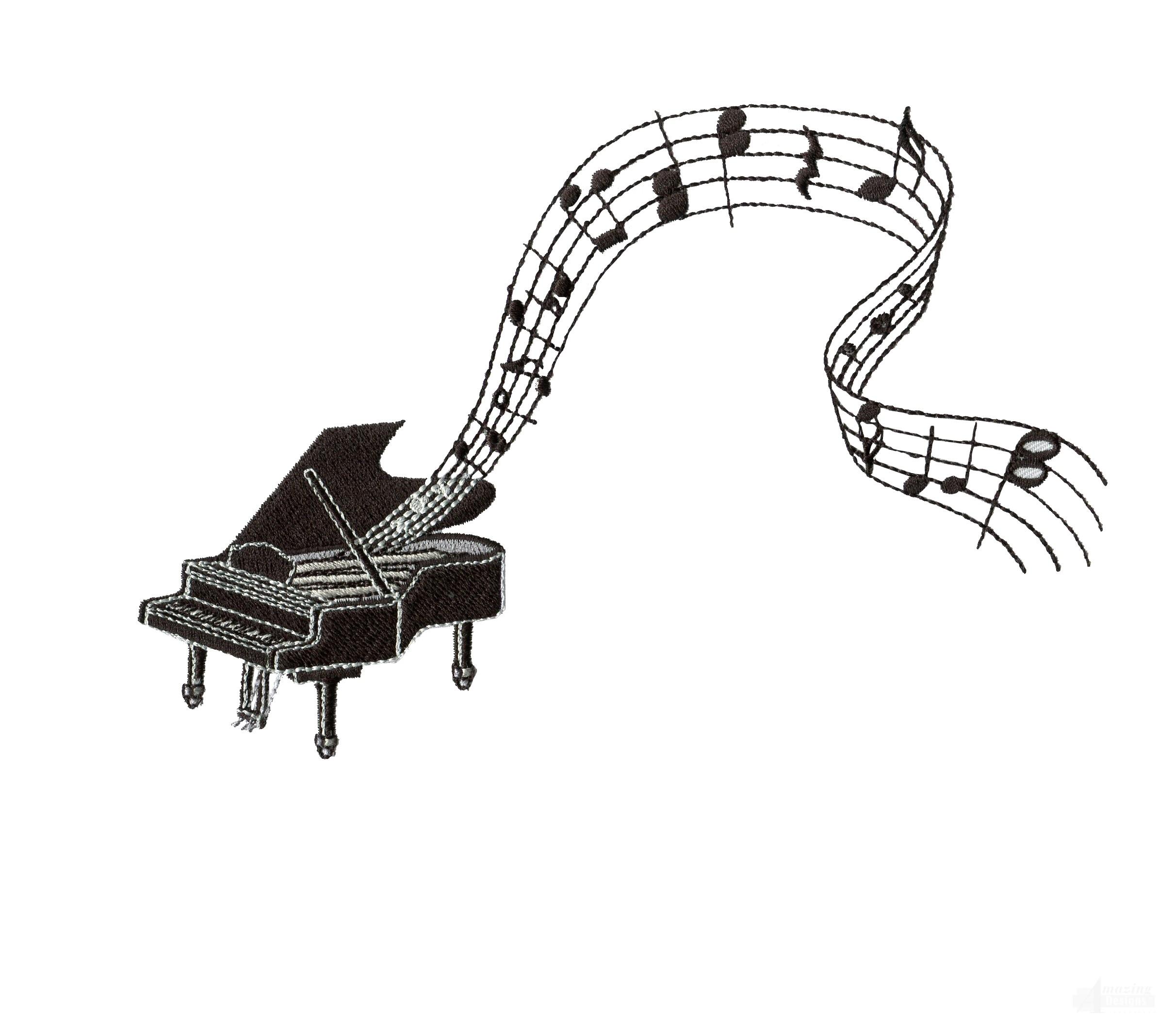 Piano Embroidery Design