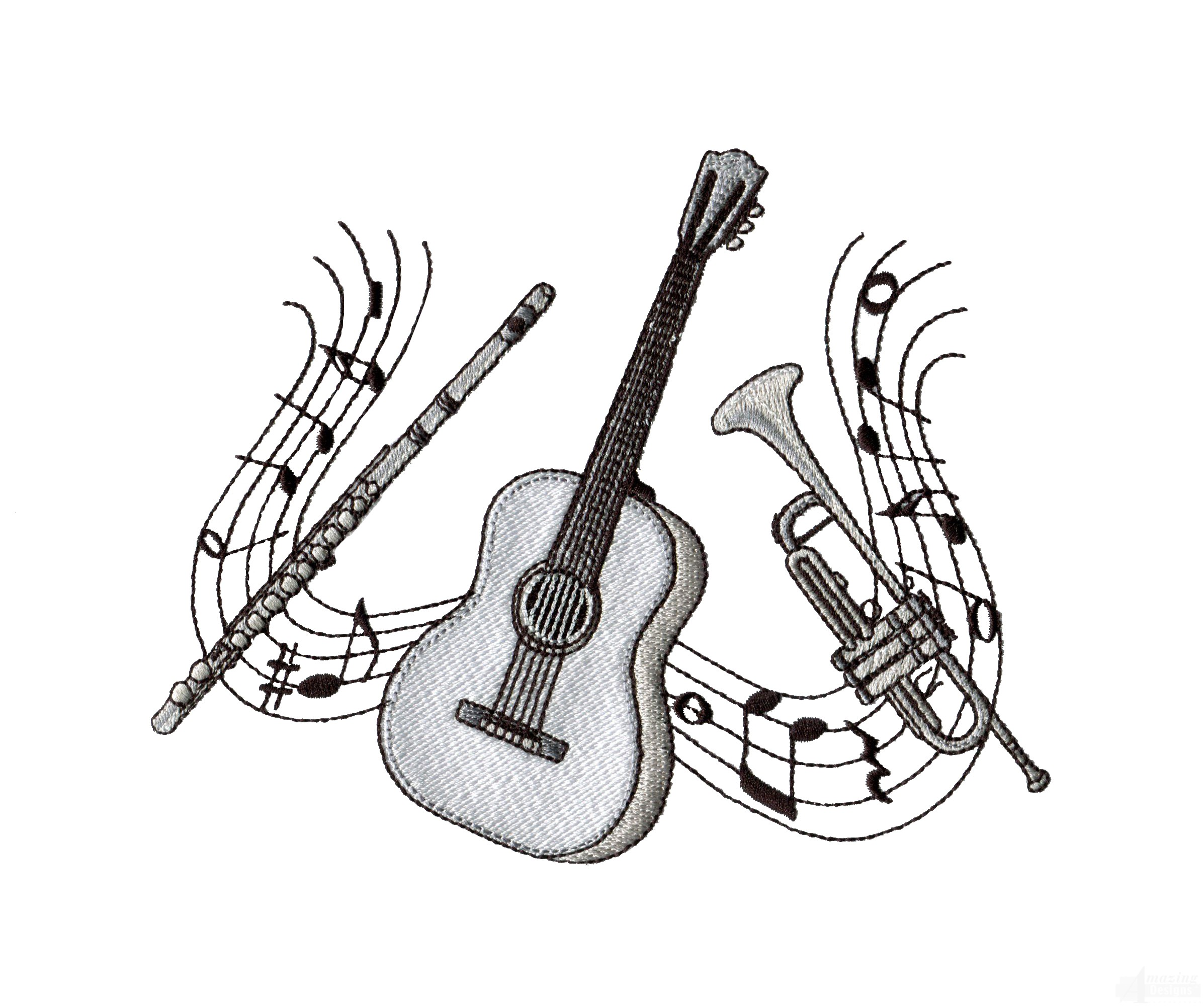 Guitar Trumpet And Flute Embroidery Design