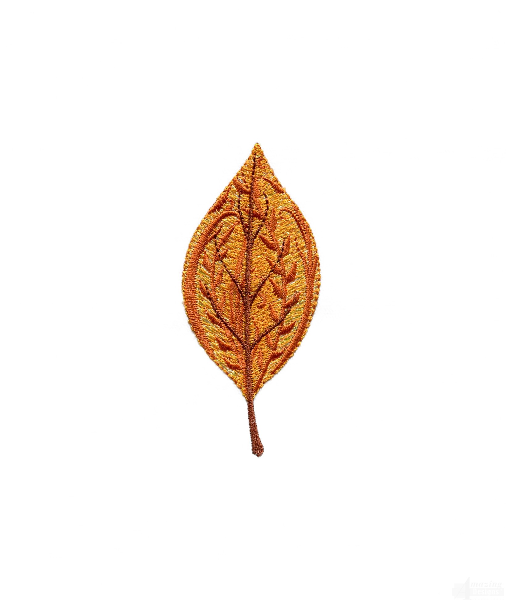 Leaf iridescent autumn embroidery design