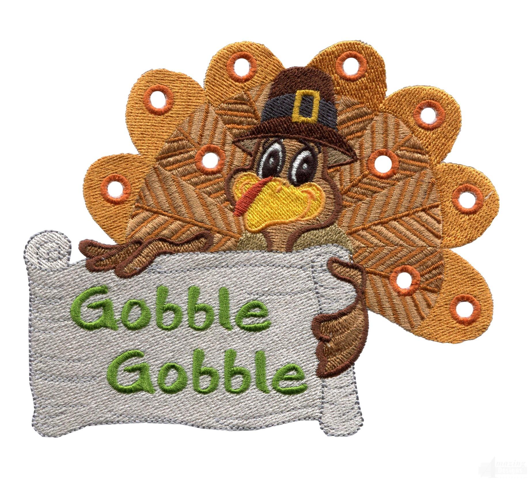 Gobble turkey embroidery design