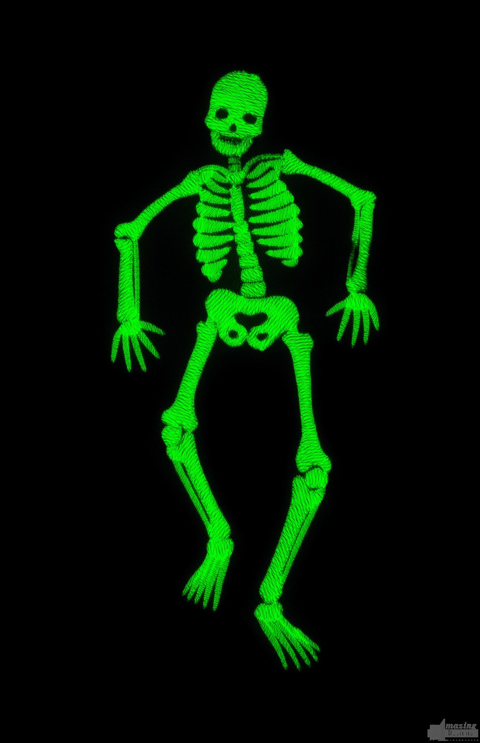 Glow In The Dark Skeleton Embroidery Design