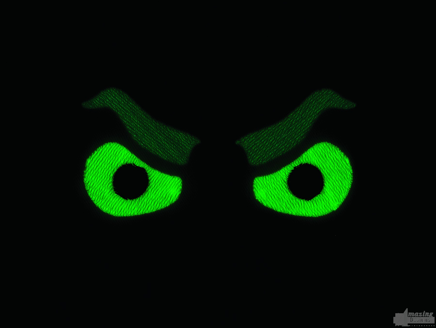 Glow In The Dark Angry Eyes Embroidery Design