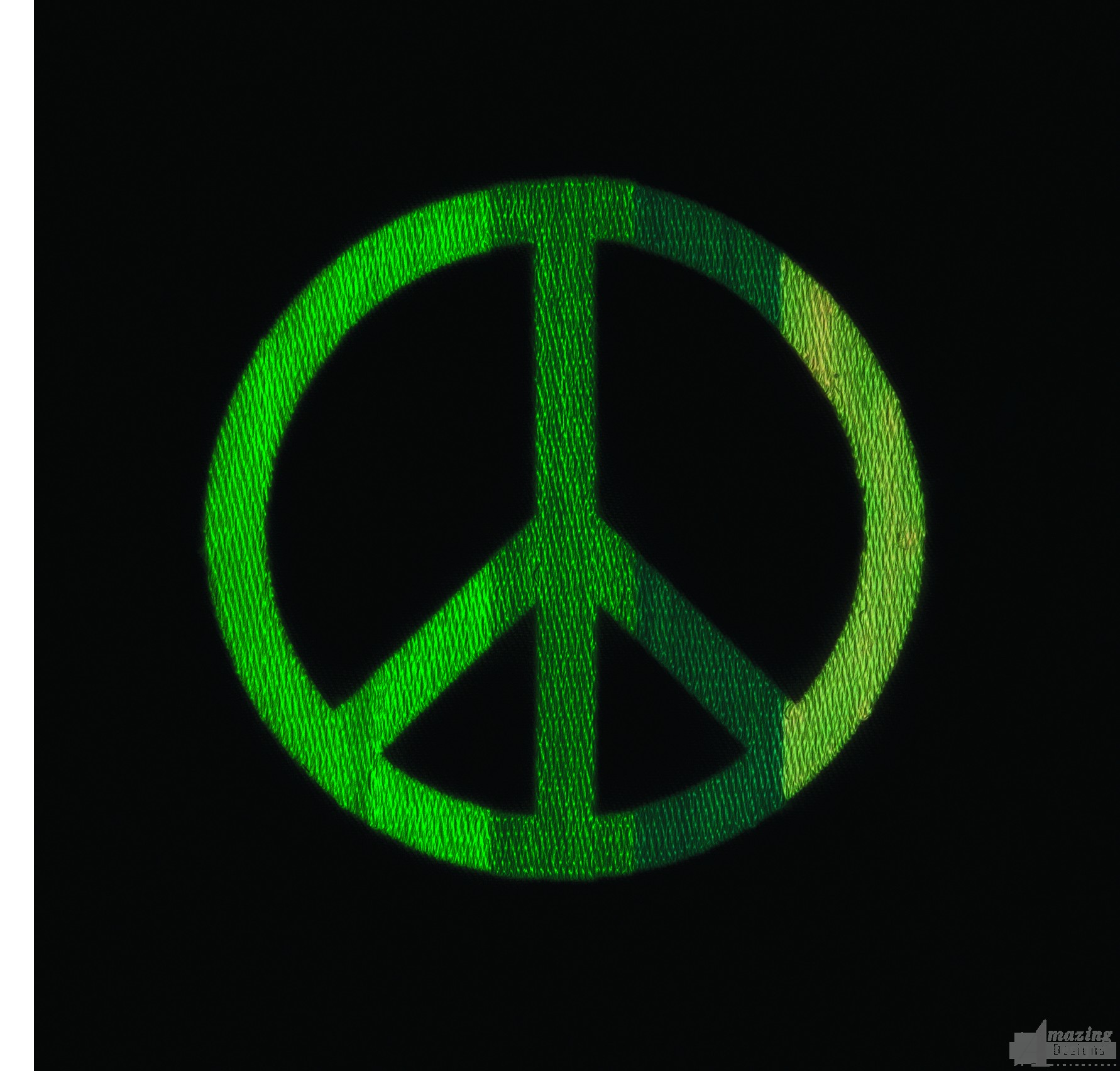 Glow In The Dark Peace Sign Embroidery Design