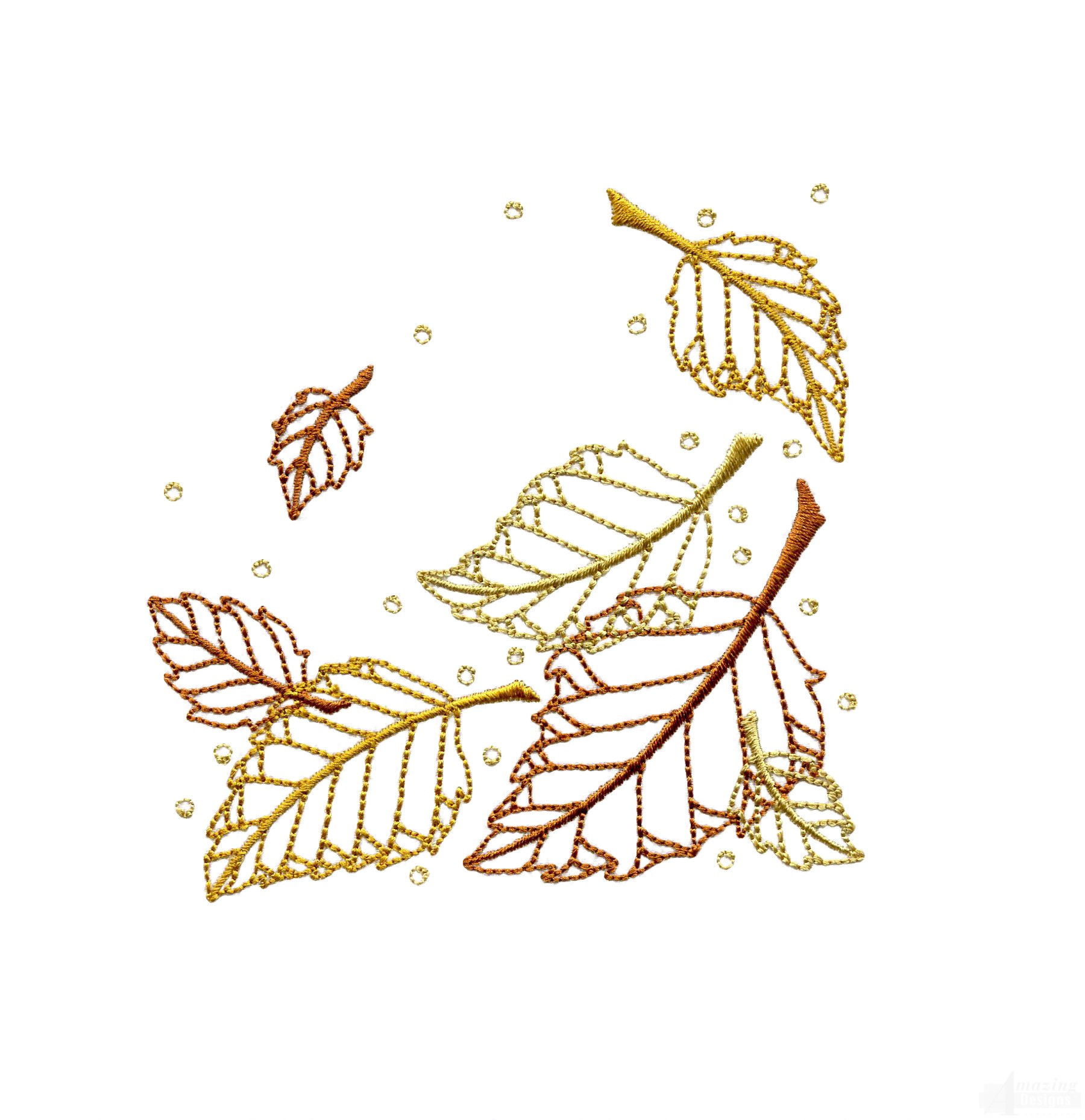 Dazzling leaf accent embroidery design