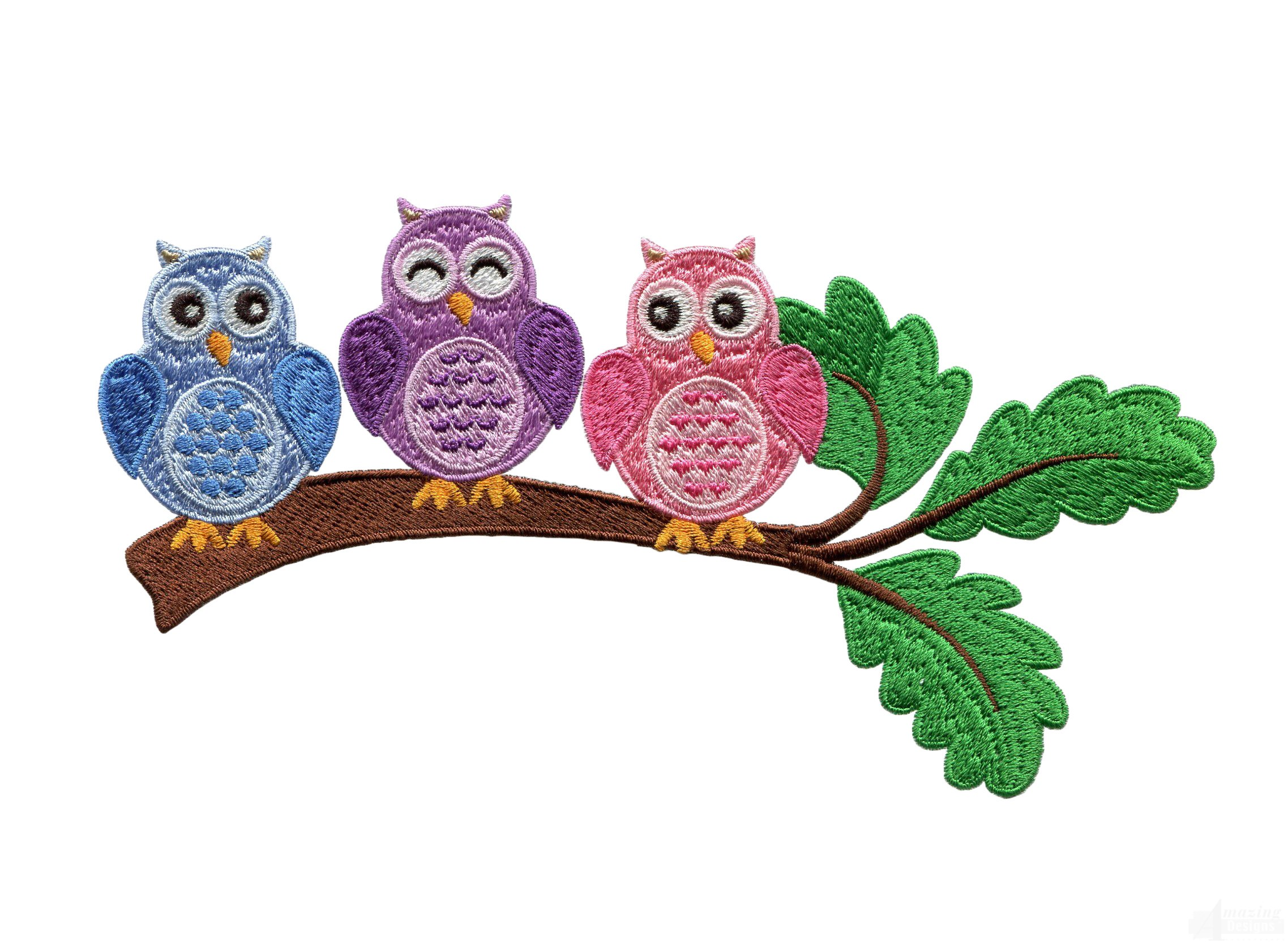 Owls On Branch Embroidery Design