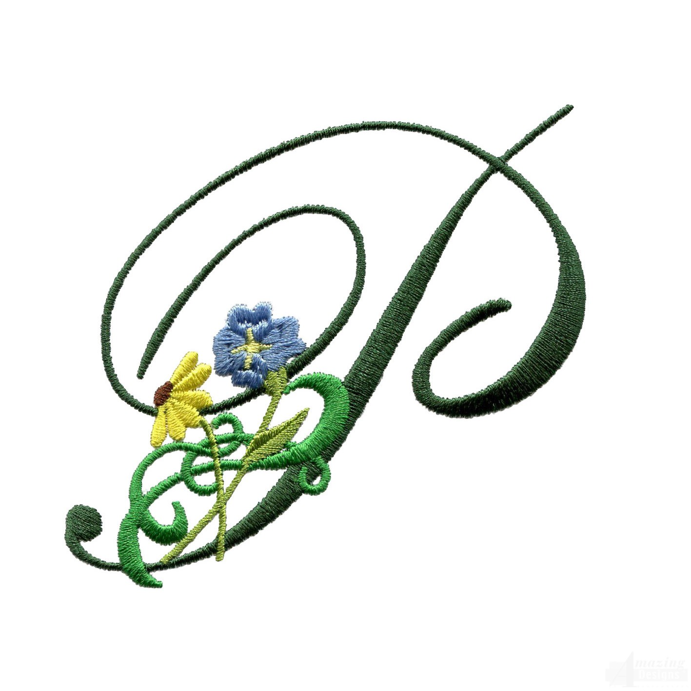 letter p floral monogram embroidery design