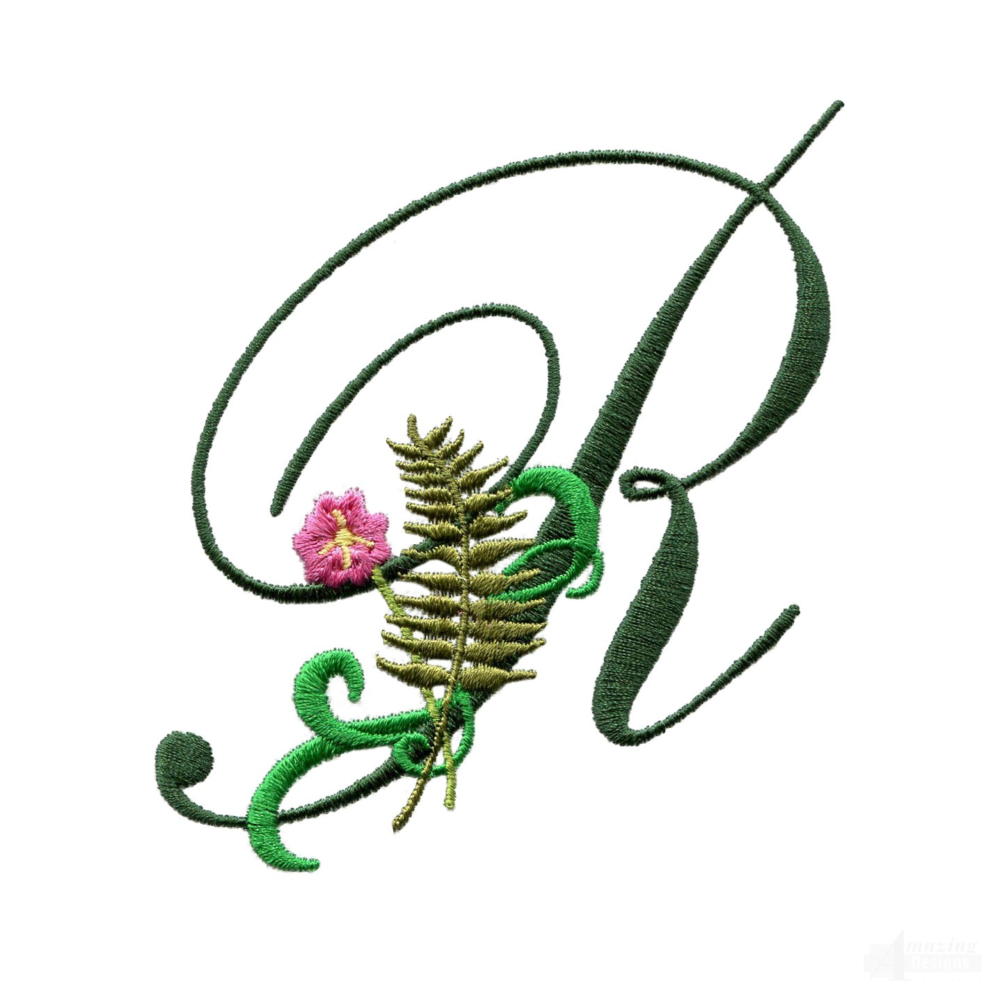 Letter R Floral Monogram Embroidery Design